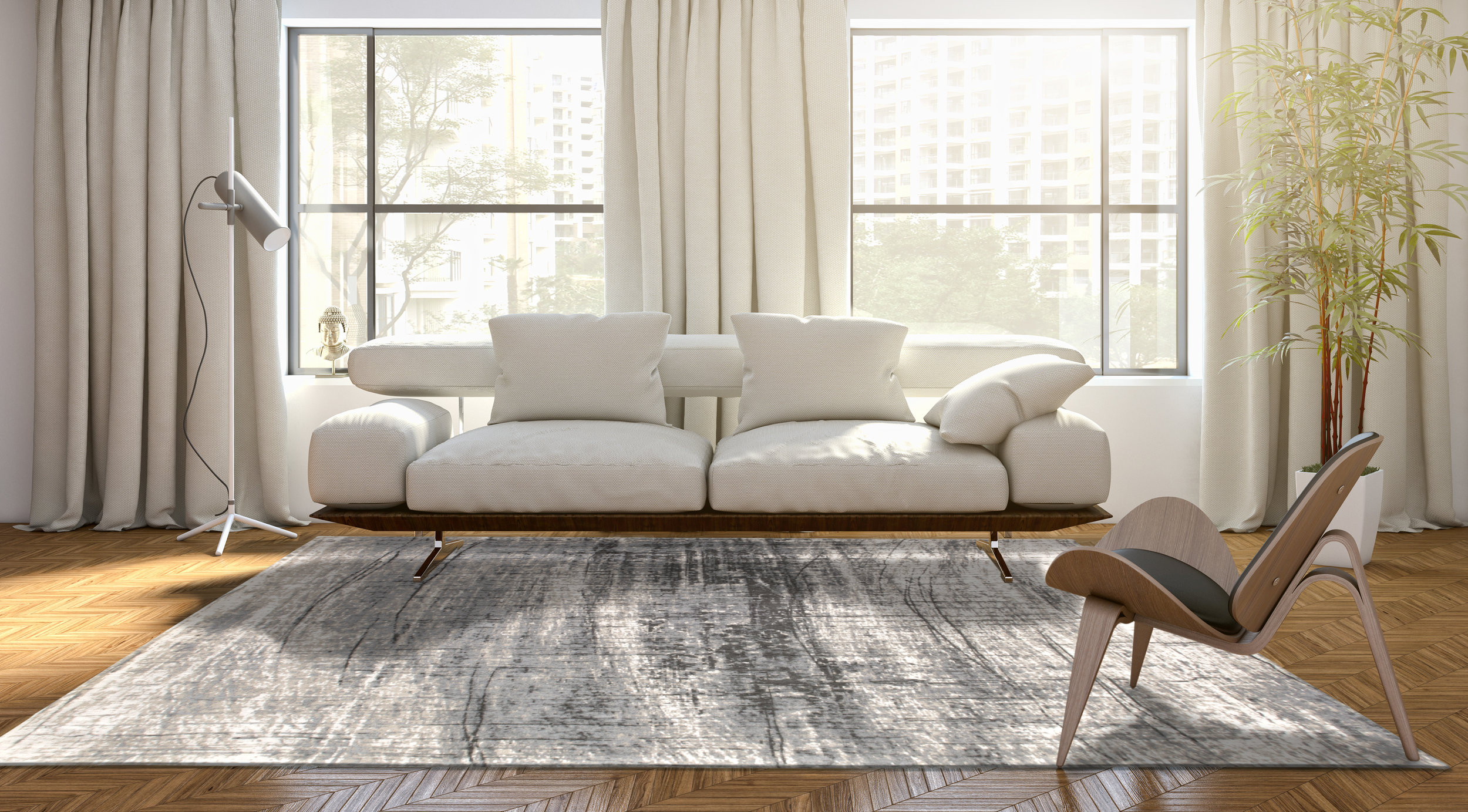 Modern, contemporary home with Louis de Poortere rug entitled Griff in Metro B+W in black, white and gray colors.