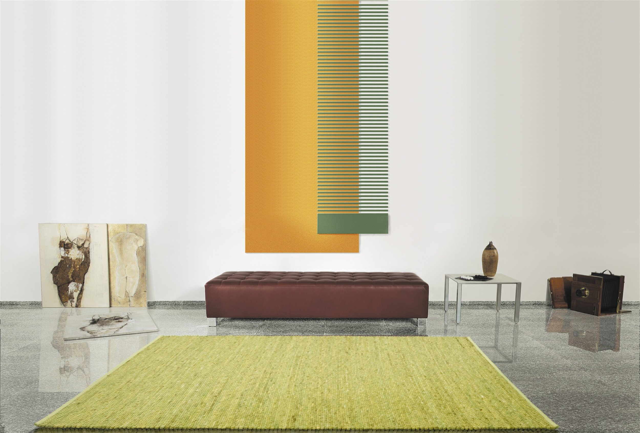 Modern, contemporary home with a lime-green rug woven with New Zealand Felted Wool.