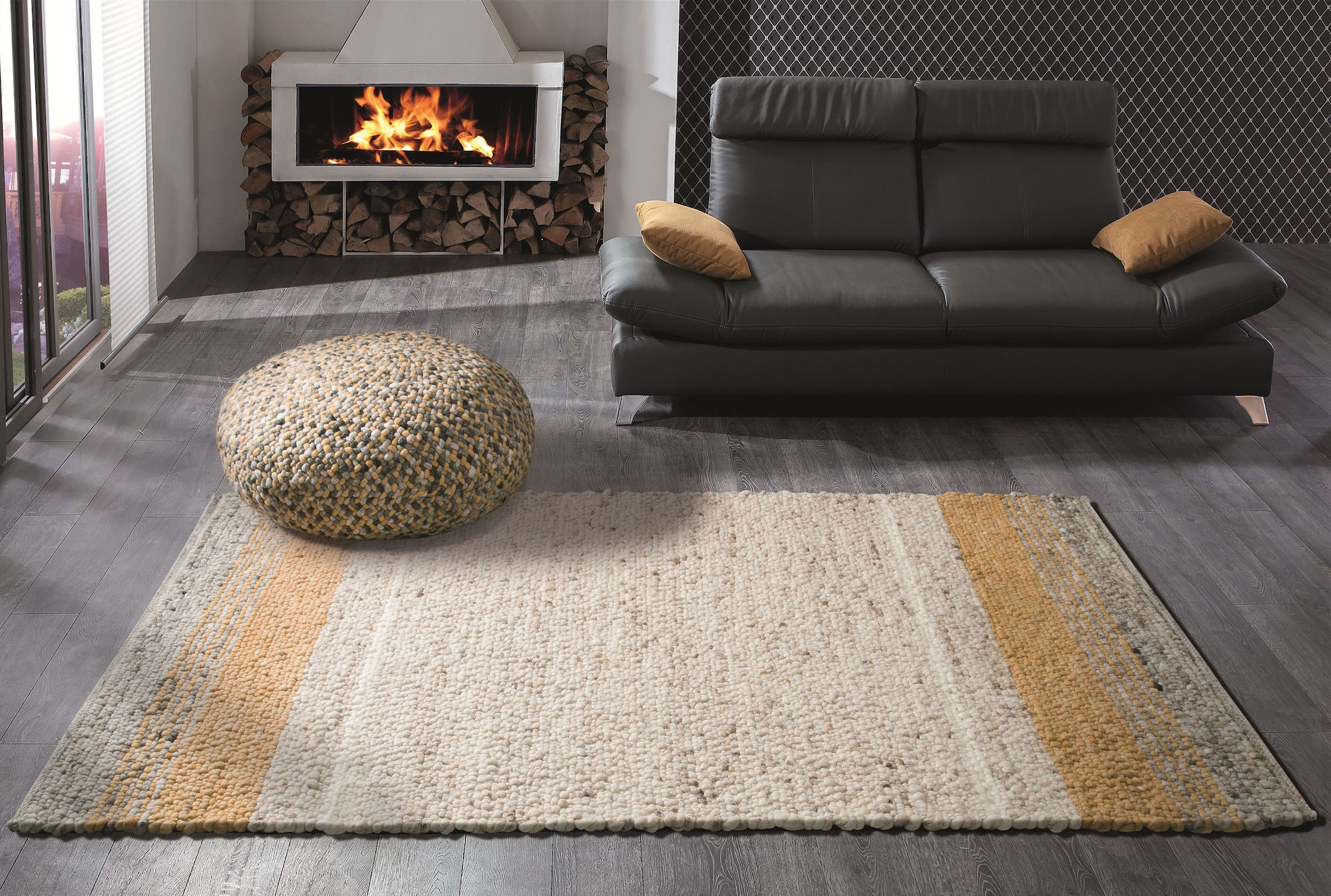 Modern, contemporary home with a light-brown and orange rug woven with New Zealand Felted Wool.
