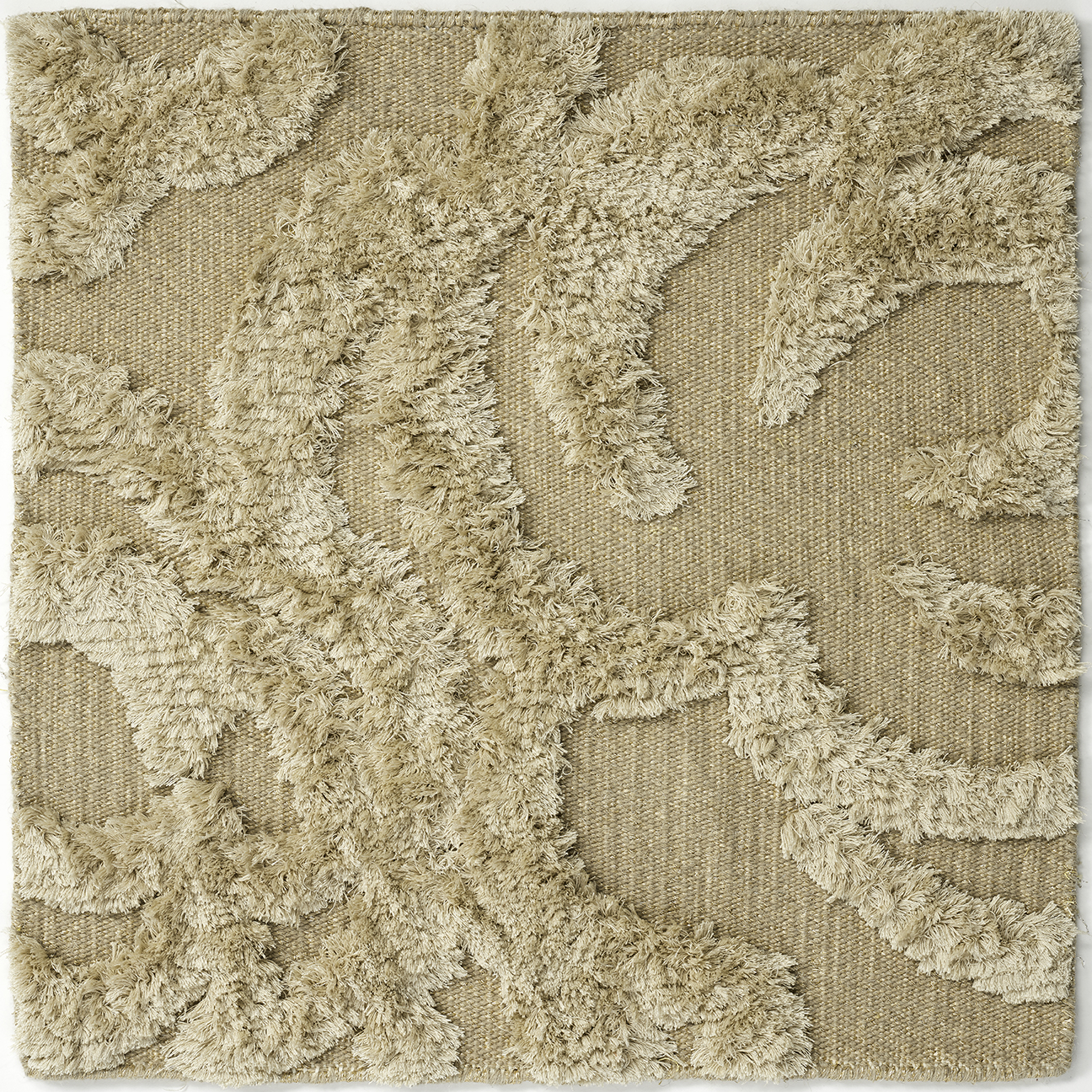 Hand-knotted, wool matka silk rug with abstract design in beige gold neutral cream.