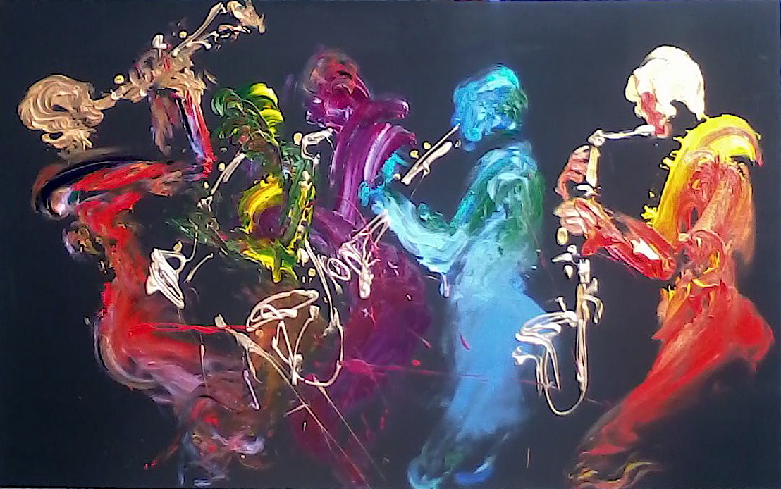 Bright, vivid abstract painting of jazz musicians in multicolor.