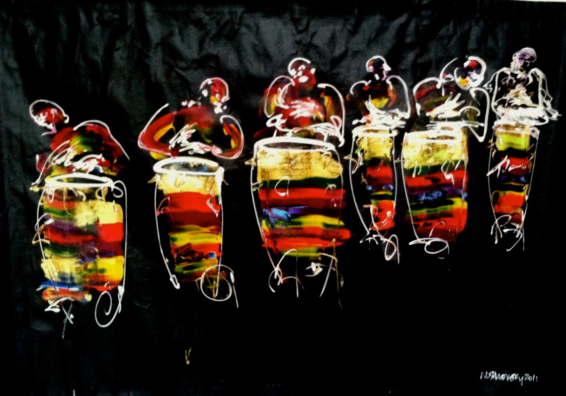 Bright, vivid abstract painting of many drummers in yellow, red and white.
