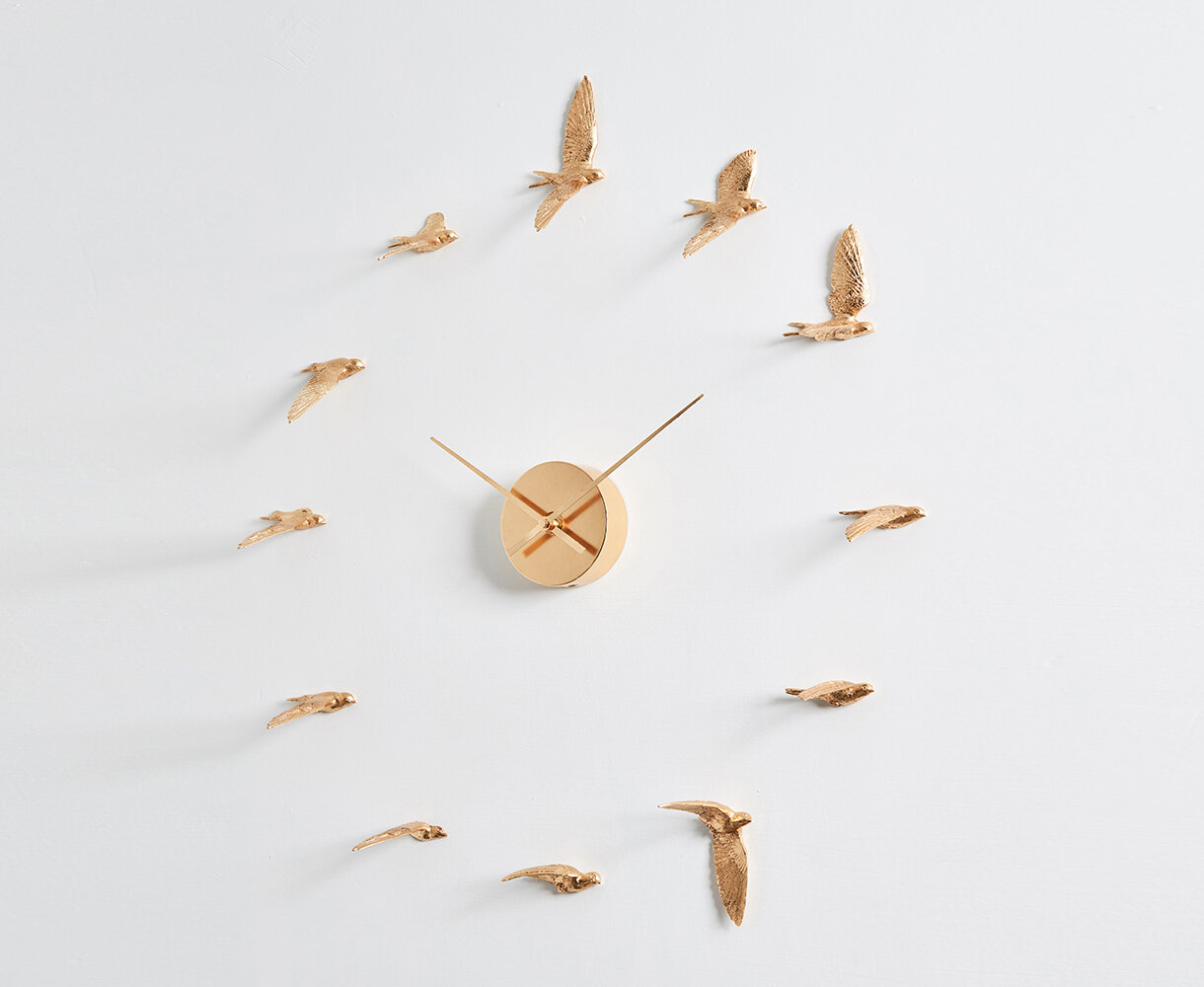 Gold Migrant Bird Clock