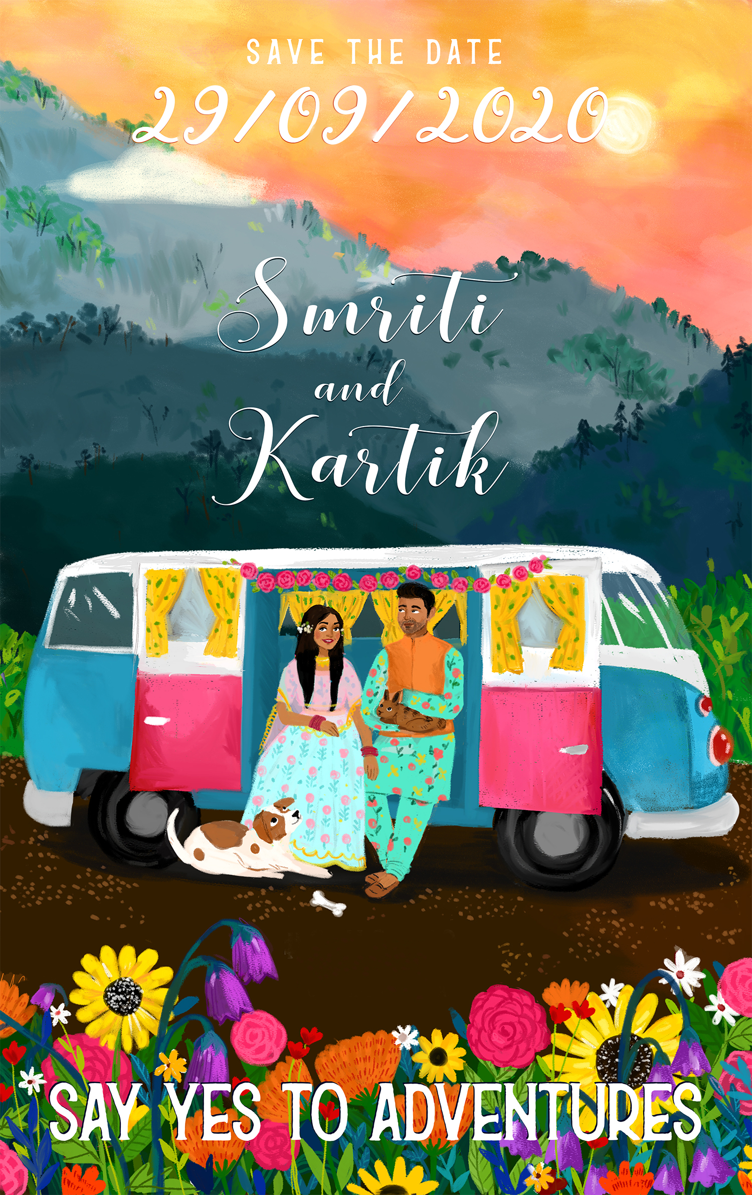Save the Date for Smriti and Kartik depicting and their love for their pets, each other and the great outdoors.