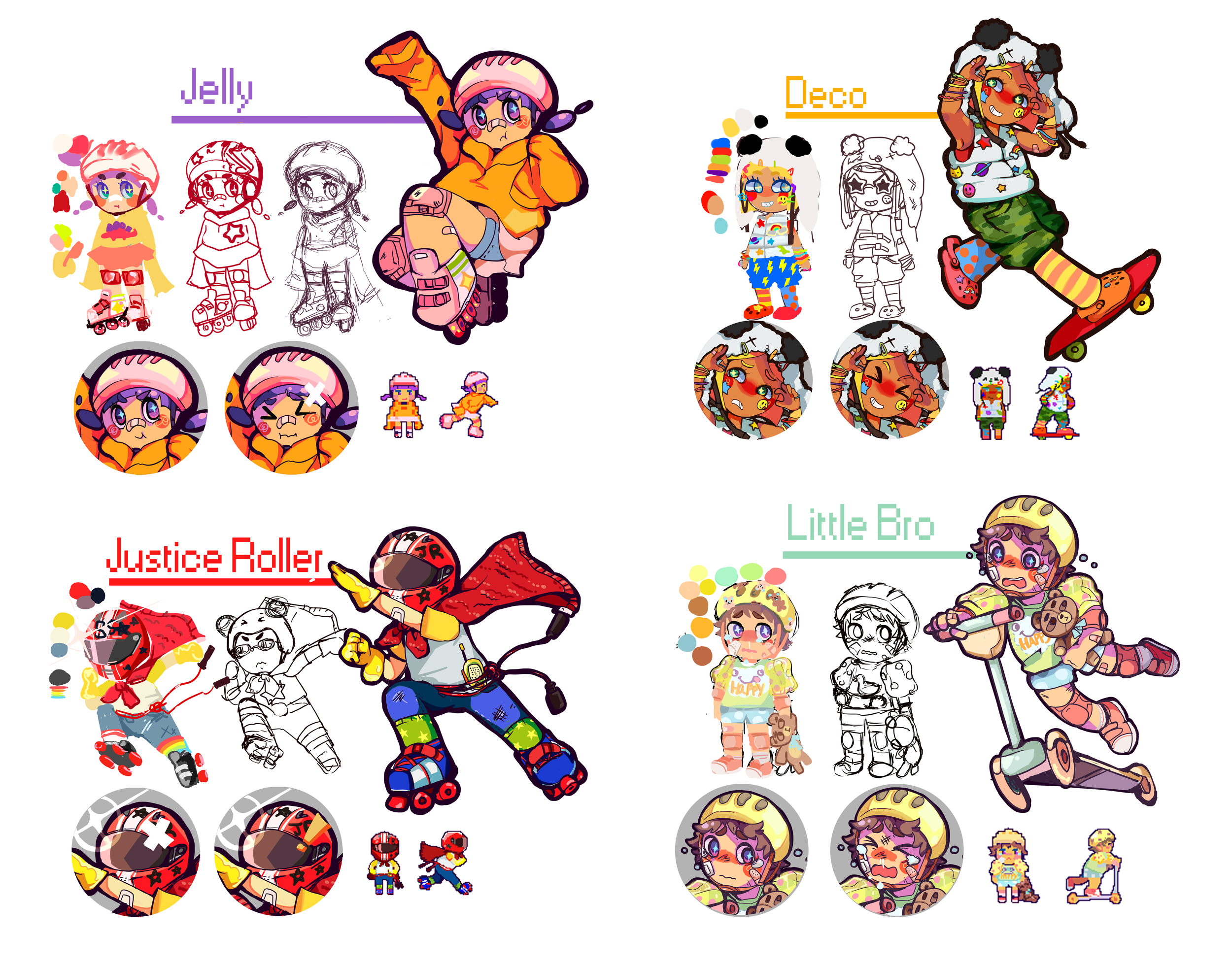 """Character designs for mobile game design project """"Go Go Skate""""  2015"""