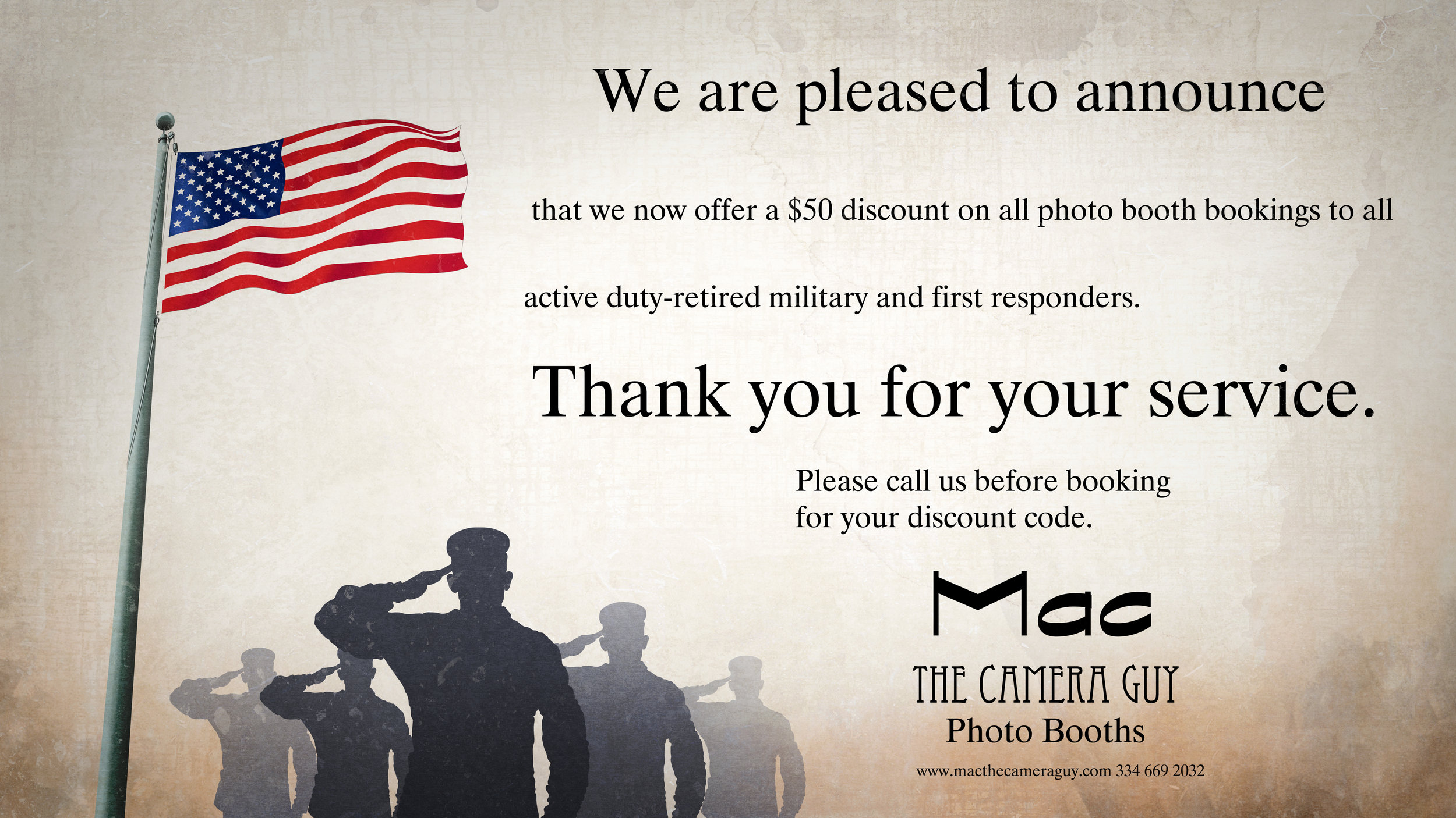 Military Discount for photo booth service in Montgomery Alabama