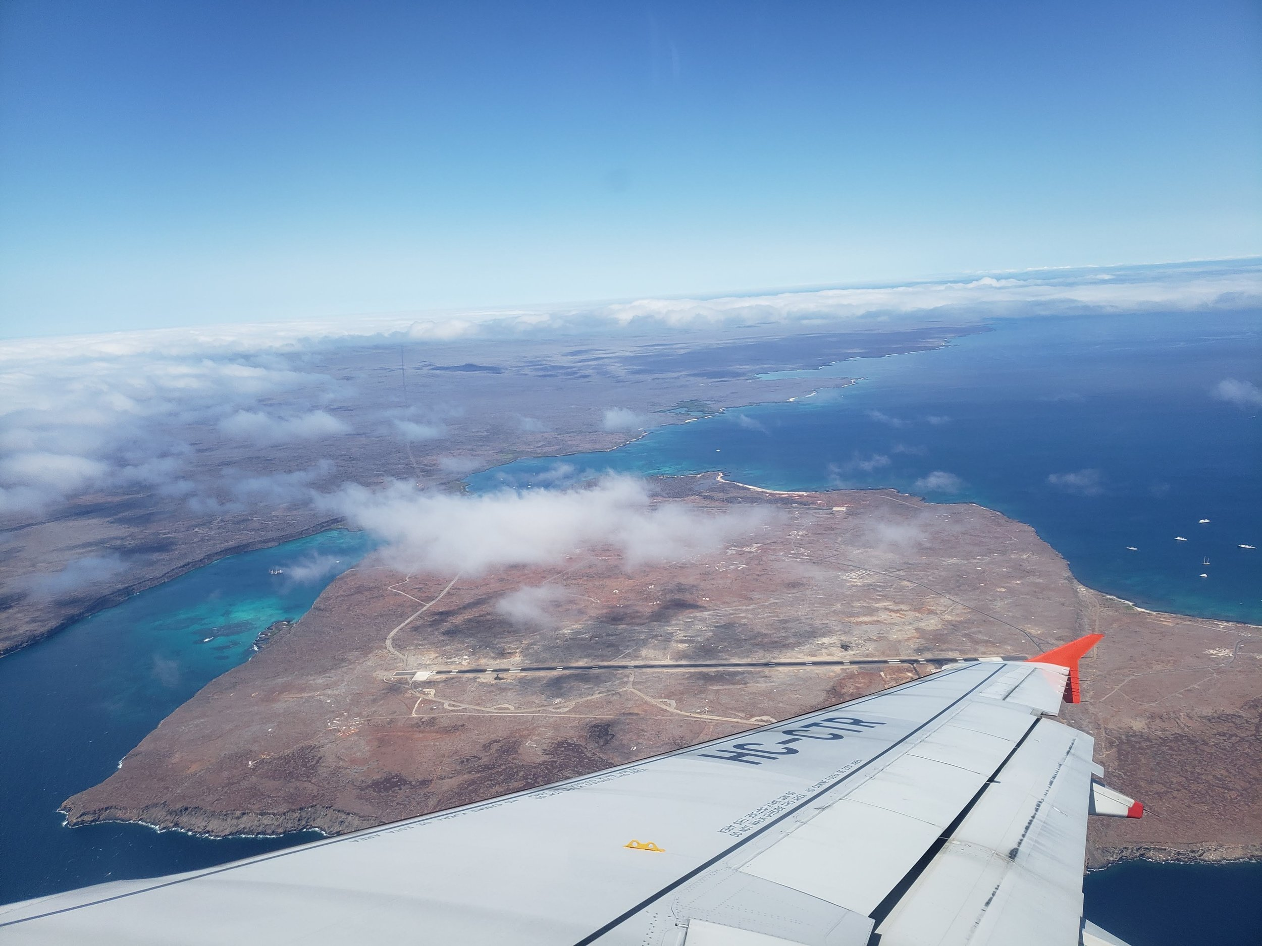 The view of Galapagos from the airplane.  Photo by Alison Travis