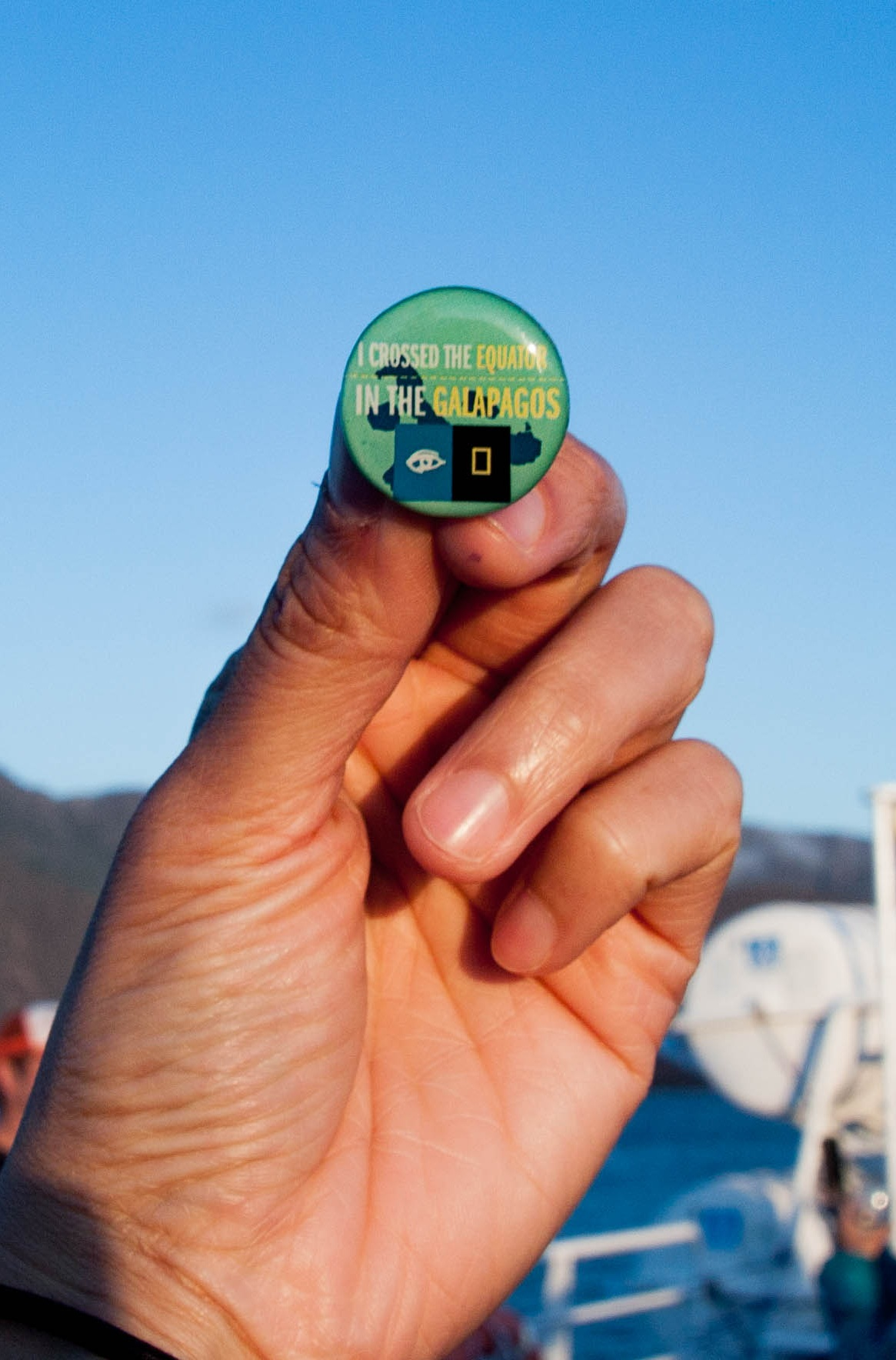 They gave me this pin on the ship to remember that I went across the equator!  Photo by Alison Travis