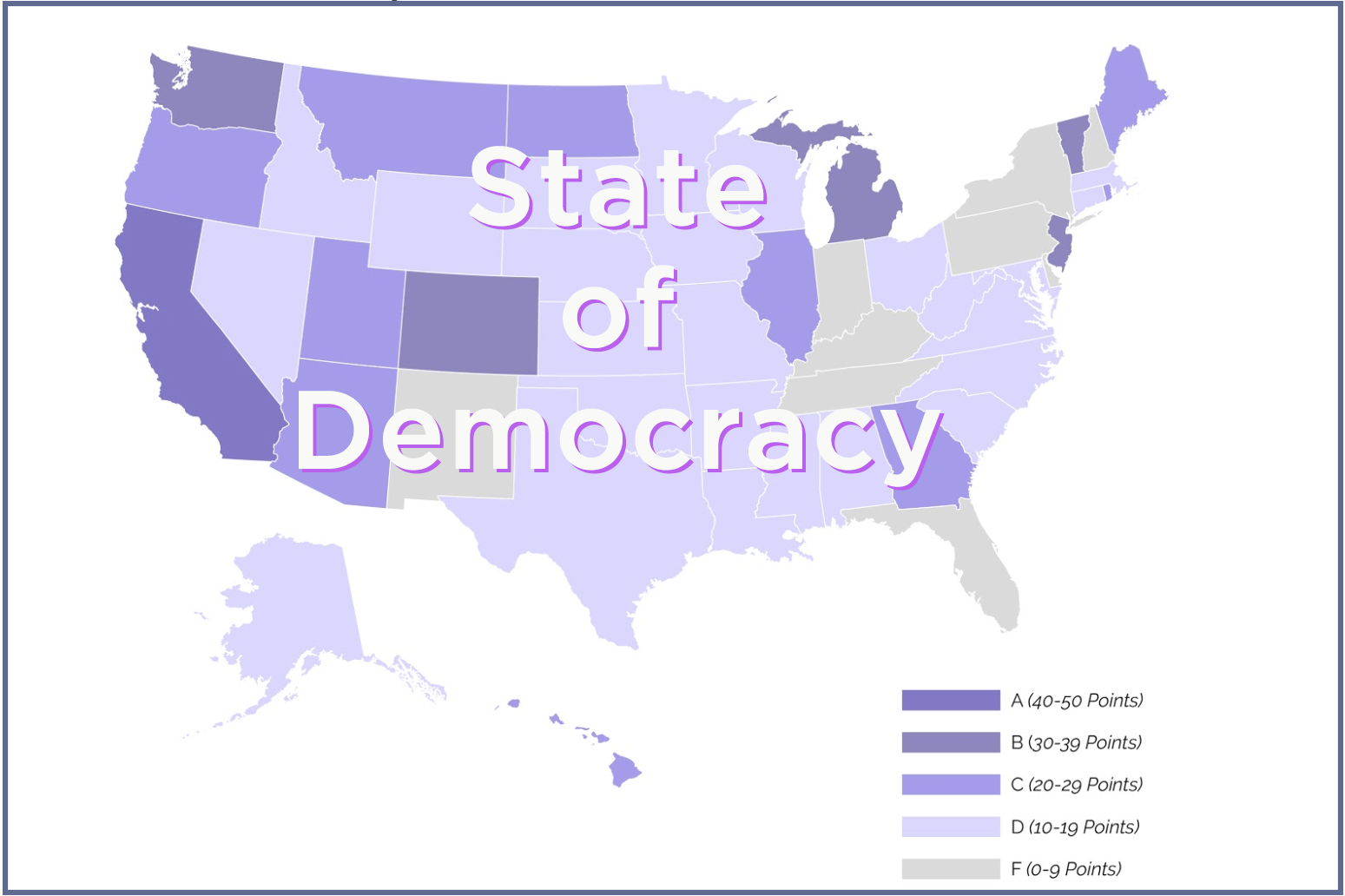 STATE OF DEMOCRACY   Our State of Democracy report looks at the progress of the states in adopting 5 key electoral reforms that make the system more representative, with higher levels of participation, accountability and competition.