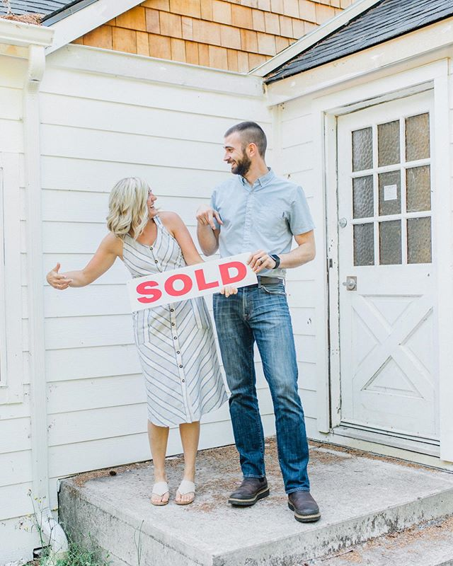 If you didn't know yet, you're finding out now. We just purchased our next #fixerupper! 🏚  Now the real question: do we start a blog for the fixer upper? #seilerhomeremodel2  Comment with ❤️ for yes or 👎🏼 for no!  Special shoutout to our wonderful photographer @emmarosecompany for taking on our last minute request to get some photos in front of the new place. No one else we'd rather share this moment with 💕