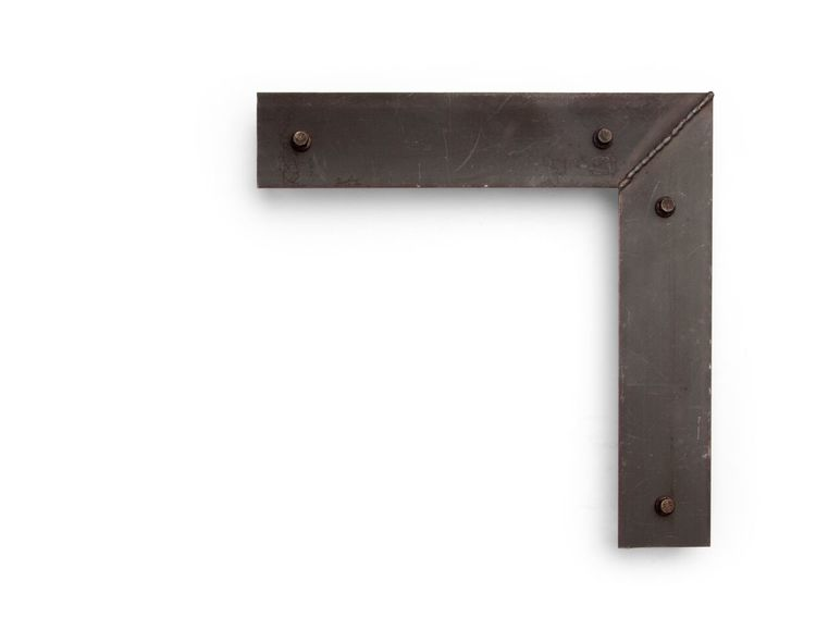 Toned Raw Hexagon This 2-1/2 inch steel frame has a flat surface and toned wood substrate, with a raw, industrial finish that showcases hexagonal bolts and a clear weld line.