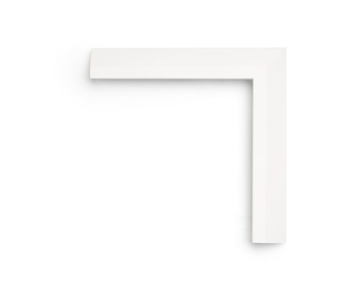 """Rising White Bevel This 1-3/4 inch frame is painted in a """"Rising White"""" finish, with a wide reverse bevel and flat, high inner face. Painted wood finishes are perfect for photography or a contemporary touch."""