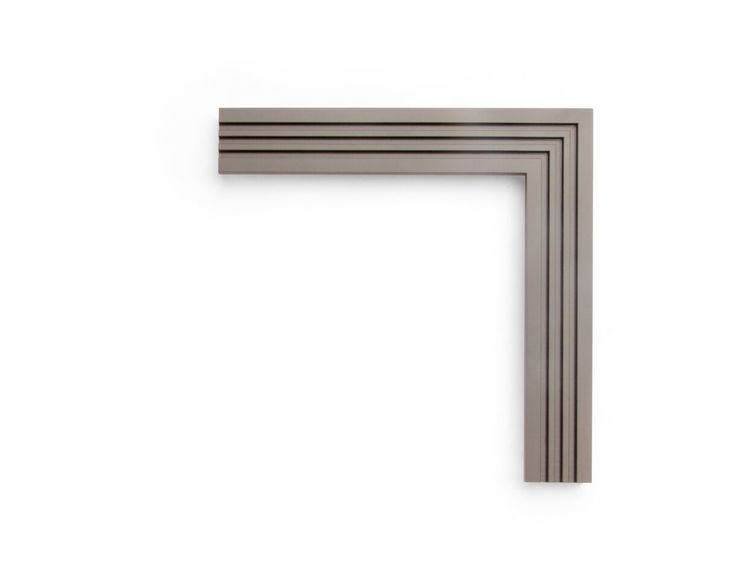 """Steel Ribbed Face This 1-3/4 inch frame is painted in a """"Steel Grey"""" finish, with four ribs of alternating width forming a patterned flat face. Painted wood finishes are perfect for photography or a contemporary touch."""