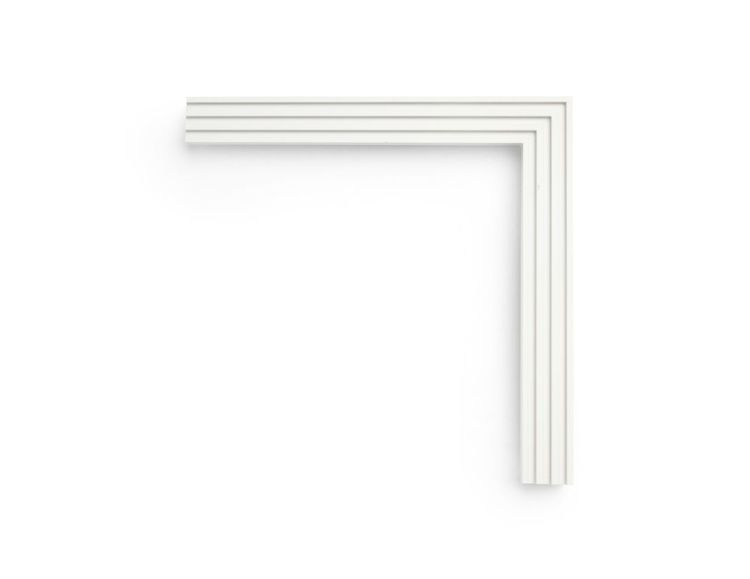 """Narrow Silver Moon This 1-1/4 inch frame is painted in a """"Silvery Moon"""" finish, with four narrow ribs forming a patterned flat face. Painted wood finishes are perfect for photography or a contemporary touch."""