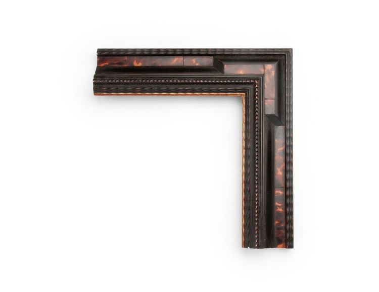 Beaded Tortoiseshell A 3 inch Dutch-style frame, with brown tortoiseshell veneer panels, outer and inner sections of ripple and bead decoration, and an inner architectural keyed corner. The finish shown is black over red clay, with yellow gold along the inner lip.