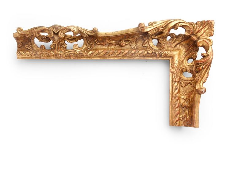 Baroque Floral Rail A French 3-1/2 inch 18th-century Baroque-style frame, this ornate frame has sweeping floral decoration throughout, along the rails, centers and corners. Everything is fully hand-carved. The finish shown is yellow gold and a red clay.