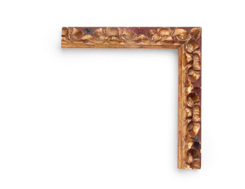Red Toned Petal A Spanish 2 inch frame, with large continuous floral petal carving all along the frame surface, toned with red on the outer edge. The finish shown is red over yellow gold with an antique finish.