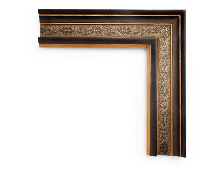Leaf Patterned Hatch An Italian 4 inch 16th-century frame, this cassetta profile features a black panel with intricate sgraffito scratchwork revealing gold underneath, with floral & leaf patterning and hatchwork. The finish shown is black over yellow gold and a red clay.