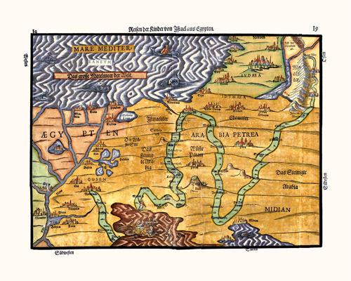 Exodus Map, 1585 Heinrich Bunting