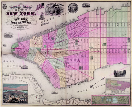 The Pier Map of the City of New York, Corn Exchange 1864