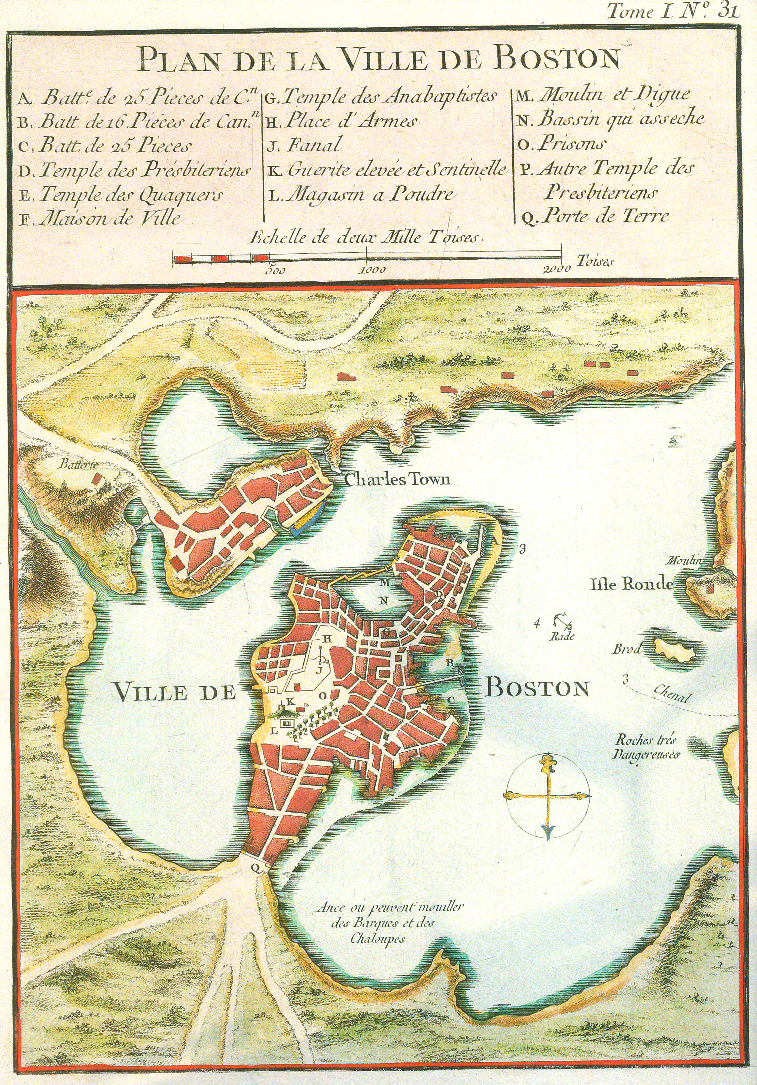 Ville De Boston Map, Bellin 1764
