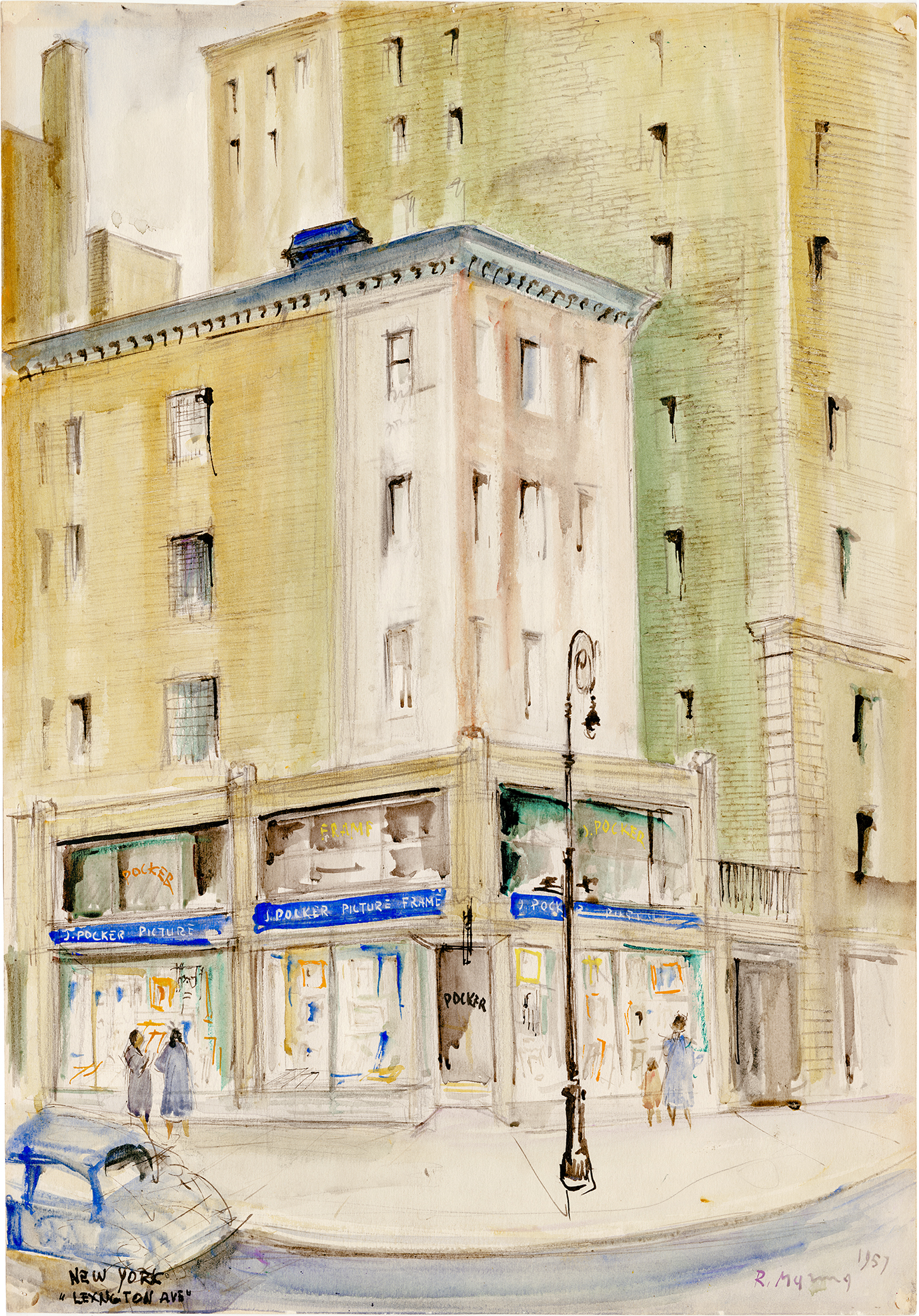 A water color of an old New York street corner