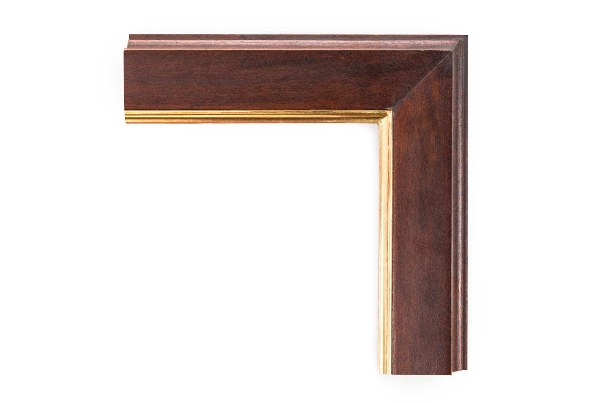 "Walnut Wedge with Hollow Sides 3 1/4"" Walnut Stain, 22kt Gold over Red Lip; the outside wall of the frame is hollowed out to create more depth and ambiance."