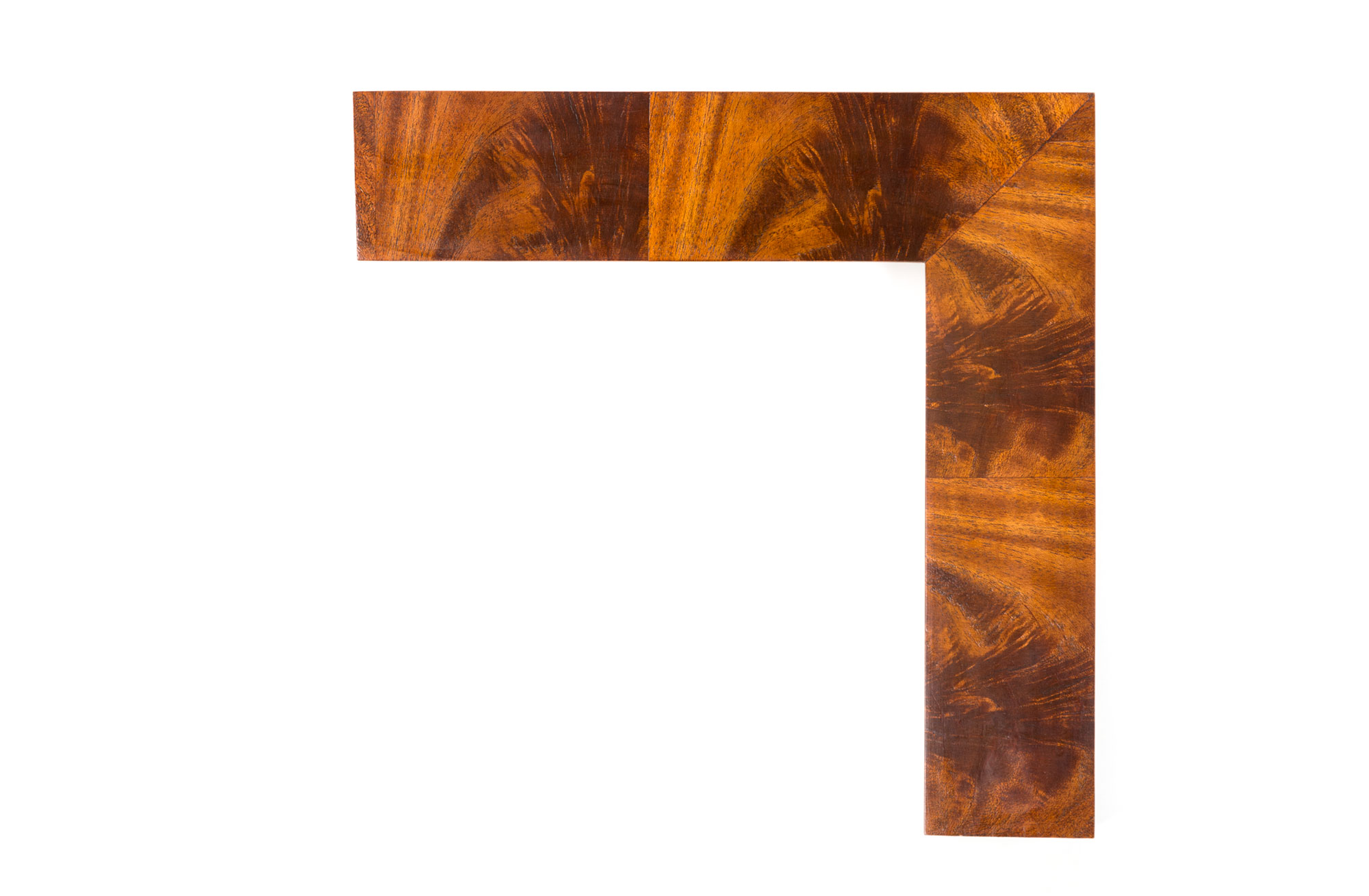 "Crotch Mahogany Wedge  2 3/4"" Beveled Wedge with Alternating Crotch Mahogany Veneer; handcrafted drawing its inspiration from early American frame design."