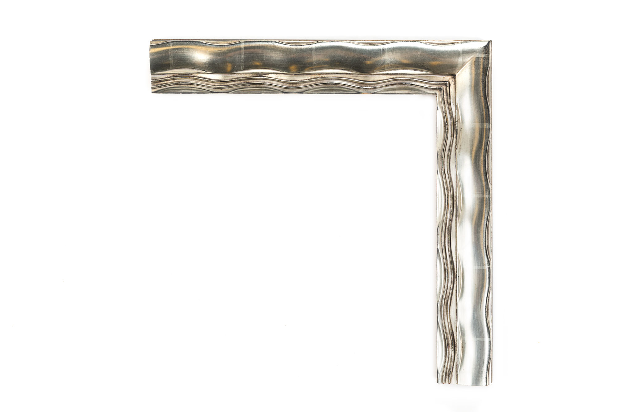 "Contemporary Silver Wave  2 1/2"" American White Gold Wave over black clay, inspired by mid-century modern artwork and architecture"