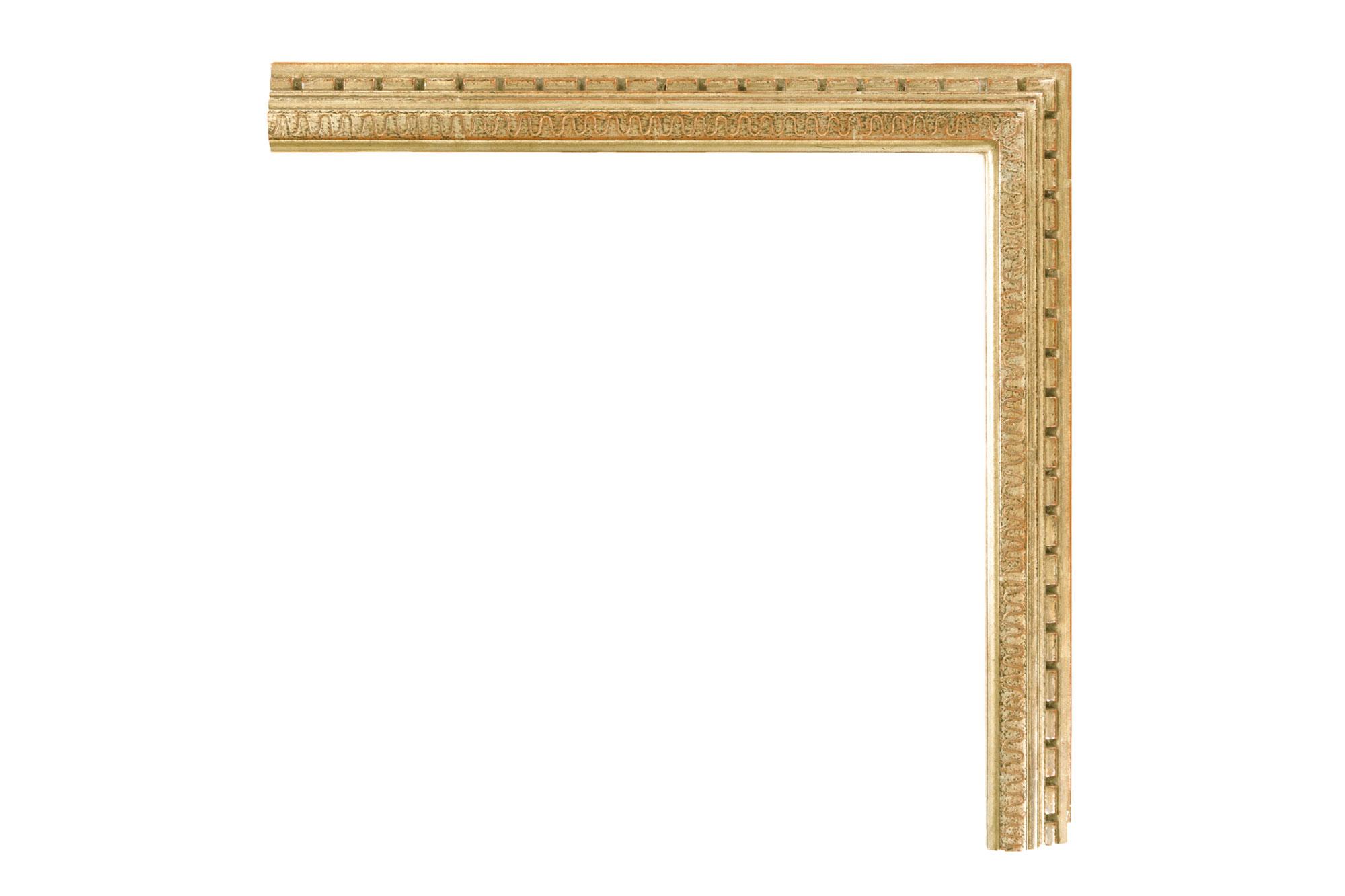 "Bernard Badura Gold  1 1/2"" Badura-inspired Warm White Gold, Engraved panel, Dental design around perimeter"