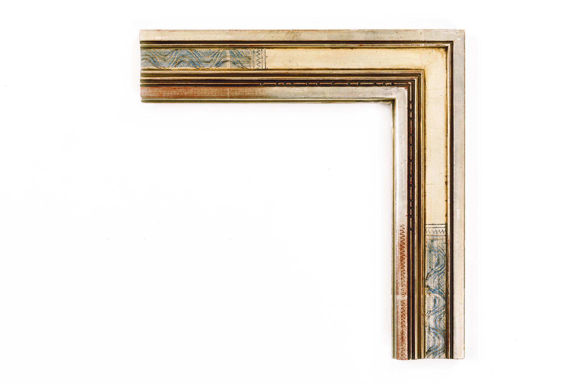 "Bernard Badura White Gold  2 3/4"" Badura-inspired Warm White Gold, Blue Engraved Design in Panel"