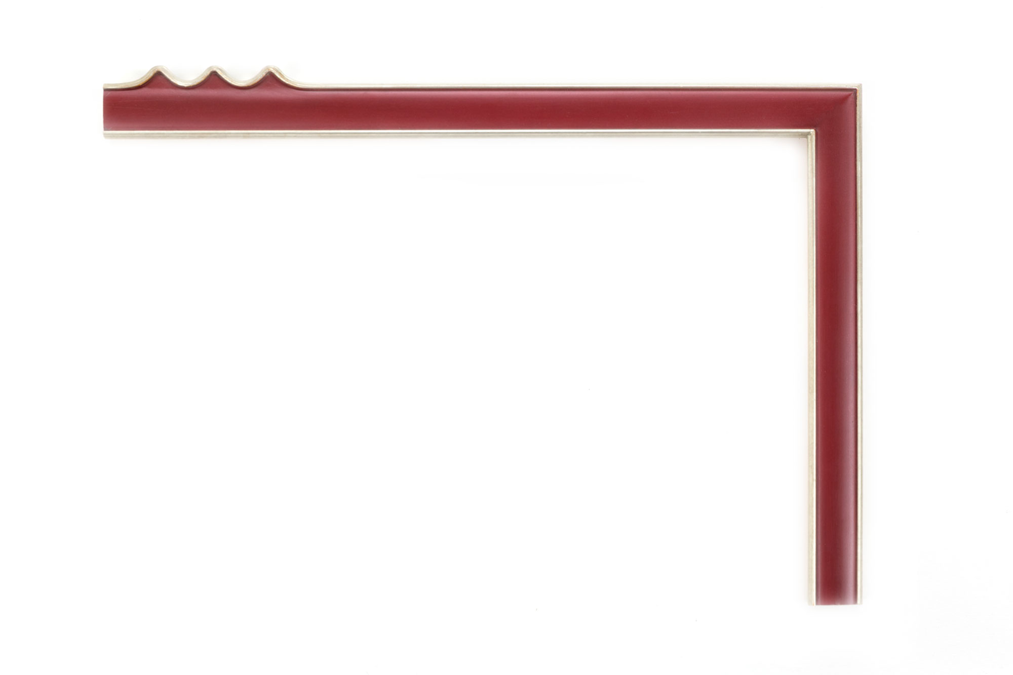 "White Gold, Burgundy Panel  1 1/4"" White gold with burgundy-painted panel, drawing frame, outer teeth design at center of each panel"