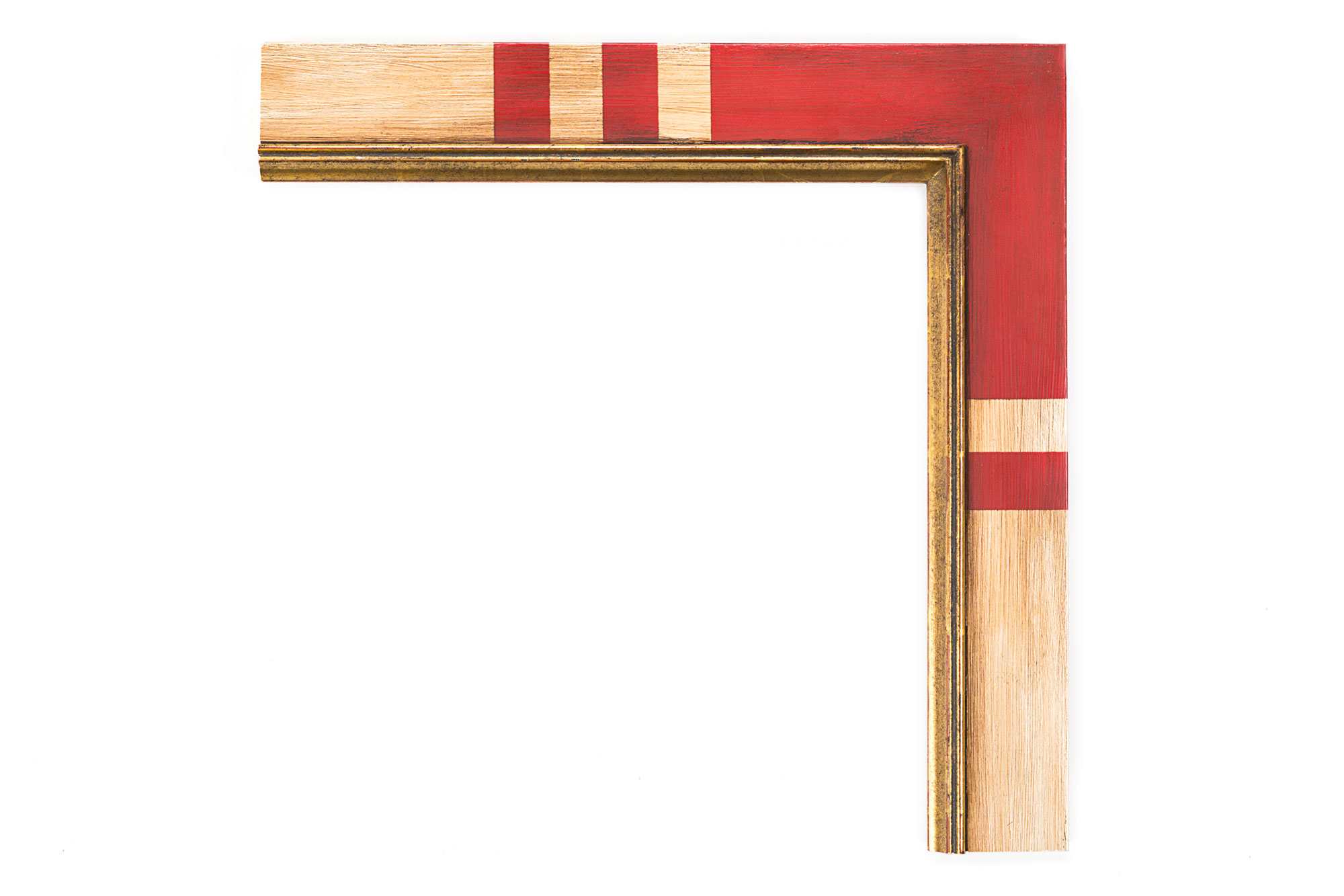 """17th C. Spanish Flat Painted  2 1/2"""" Flat Panel, 17th c. Spanish profile, 22kt antique gold raised lip, antique white panel with antique red panel corners"""