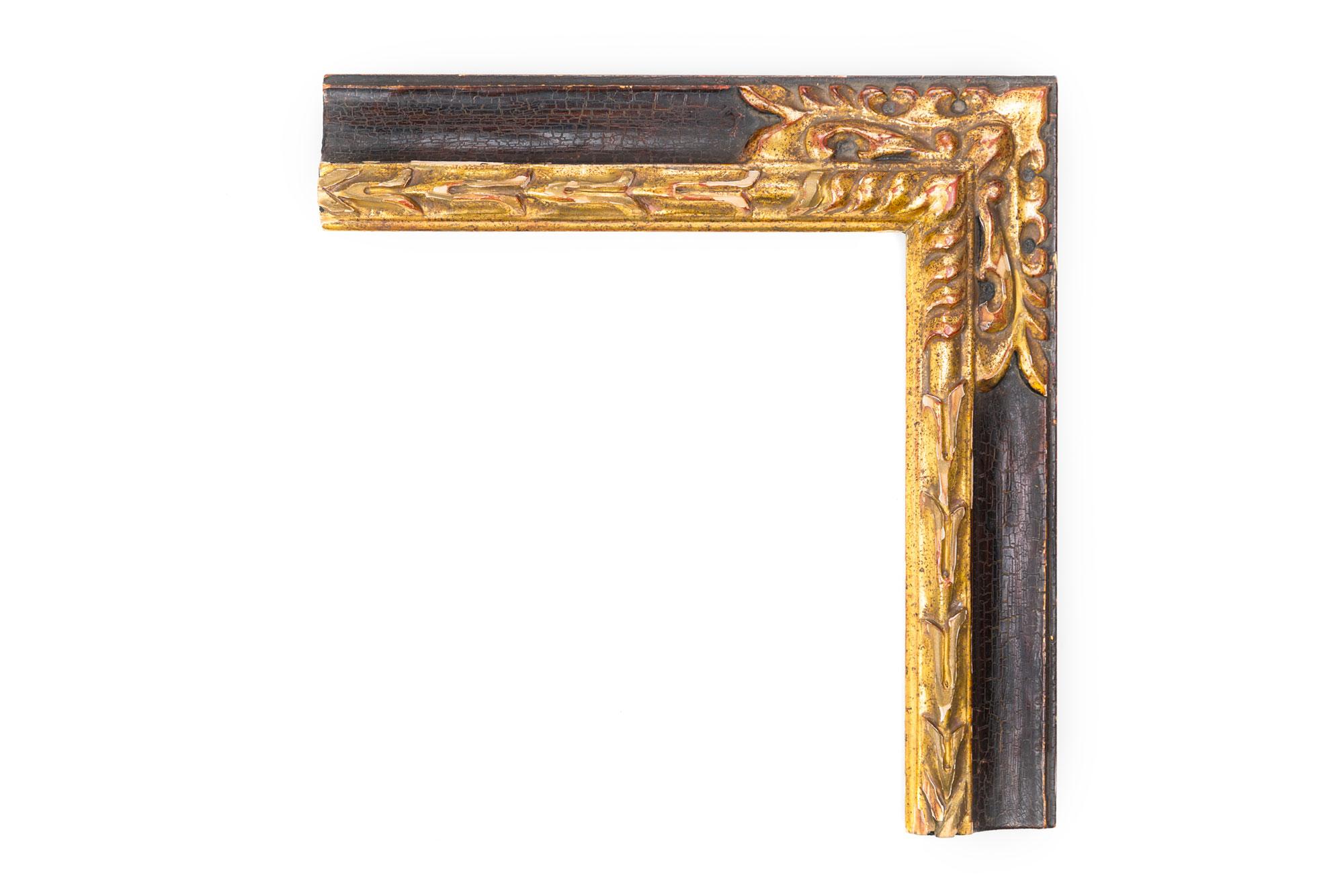 """Black and Gold Carved Corner  2 1/2"""" Spanish Black Crackle panel, 22kt gold leaf acanthus lip, hand-carved corner embellishment, medium rub, heavy antique"""