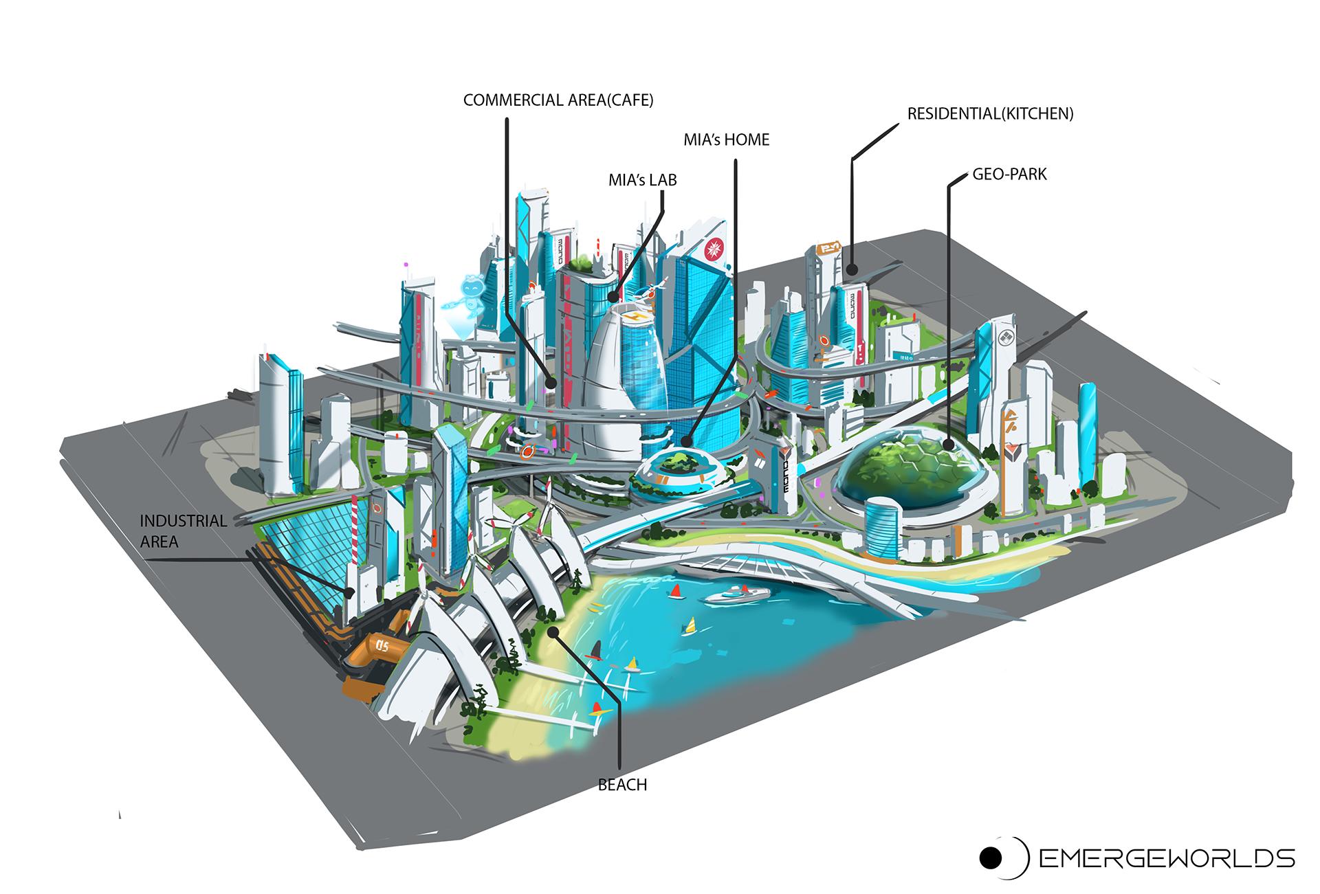 VR first aid skills training - St John city map concept