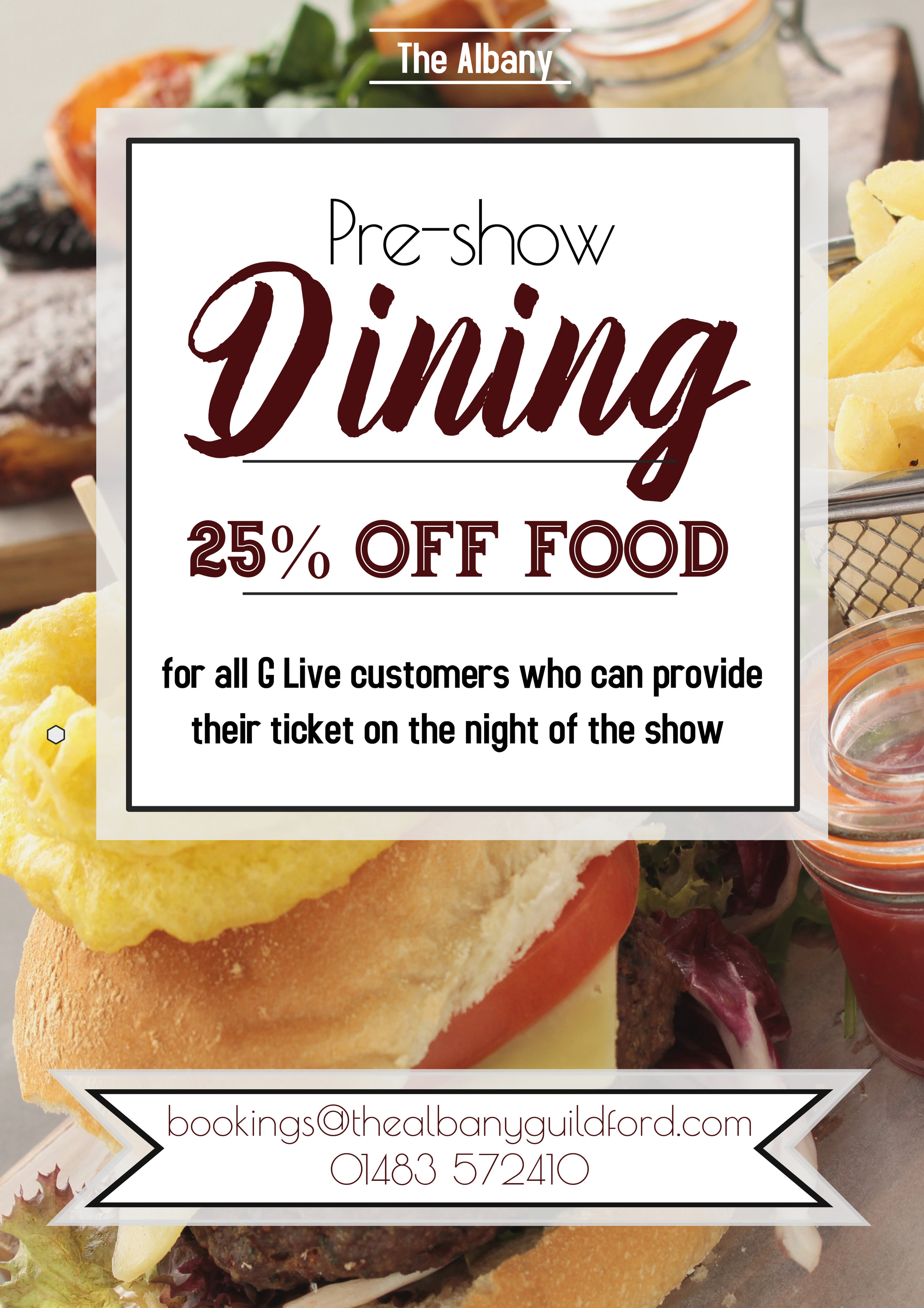 Pre-show dining - Are you planning on watching one of the many shows at local G Live?All customers who can provide their tickets on the night of the show are eligible to our fantastic food discount!