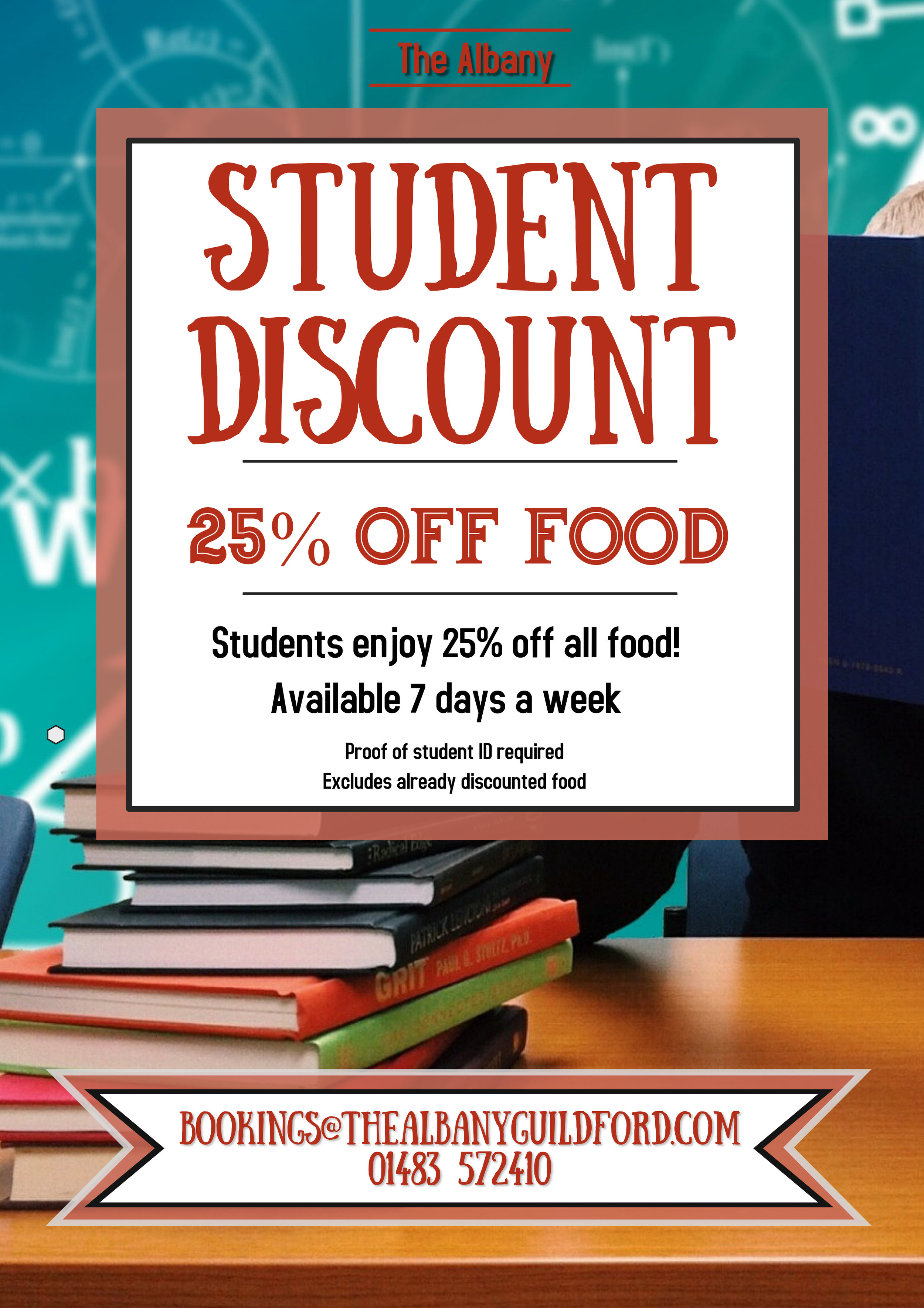 Student discount - If you are looking to save money on Student - don't miss out on our new deal!Students enjoy 25% off all foodAvailable 7 days a week