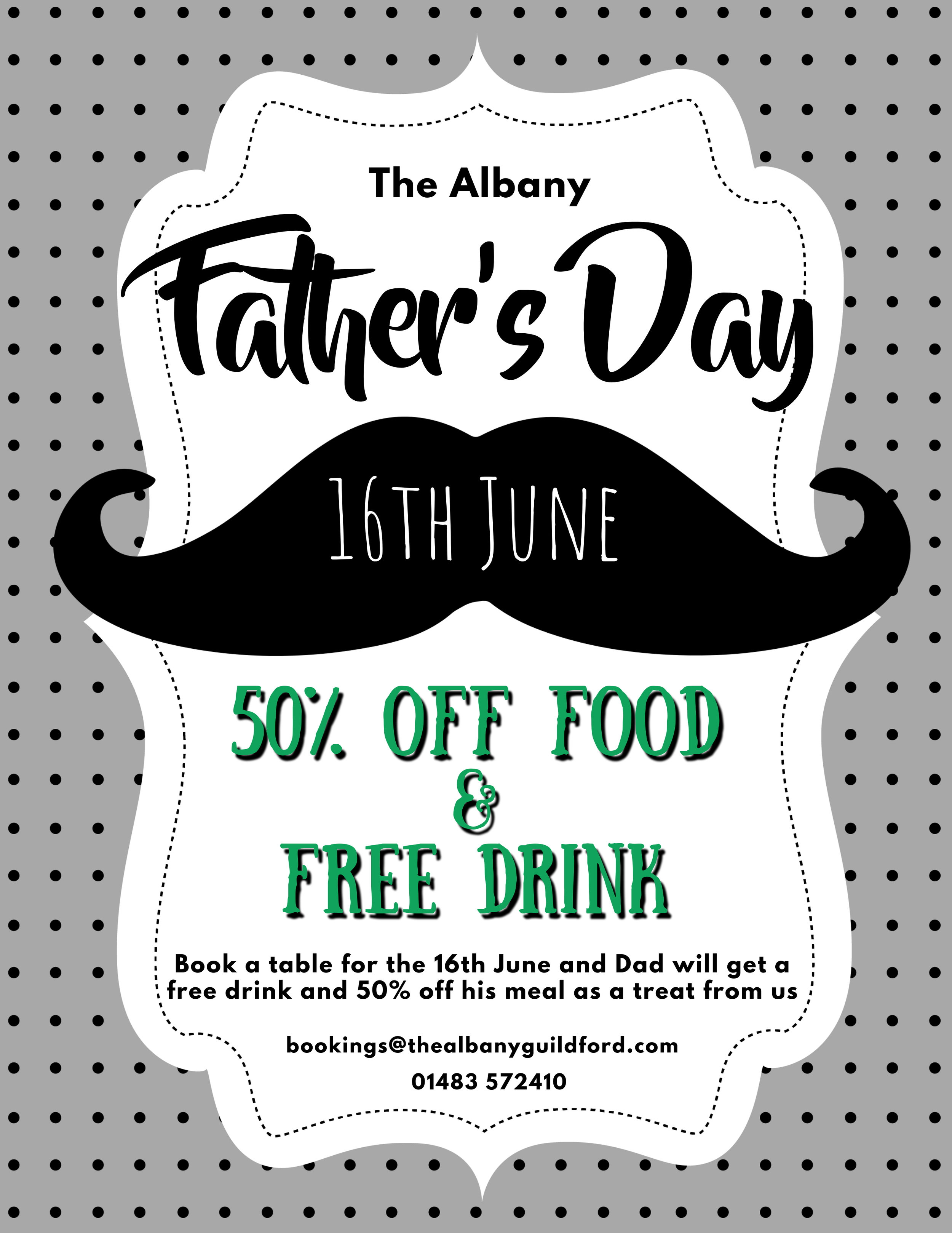 Father's day - Book a table for the 16th June and Dad will get a free drink and 50% off his meal as a treat from us