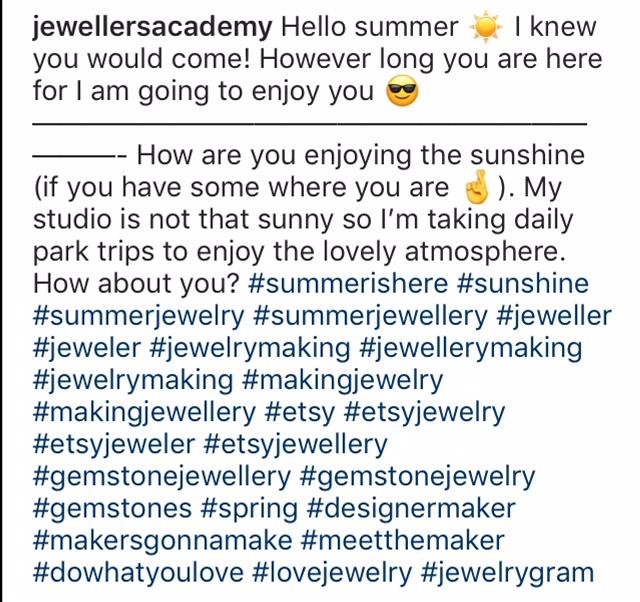 instagram hashtags Jewellers Academy