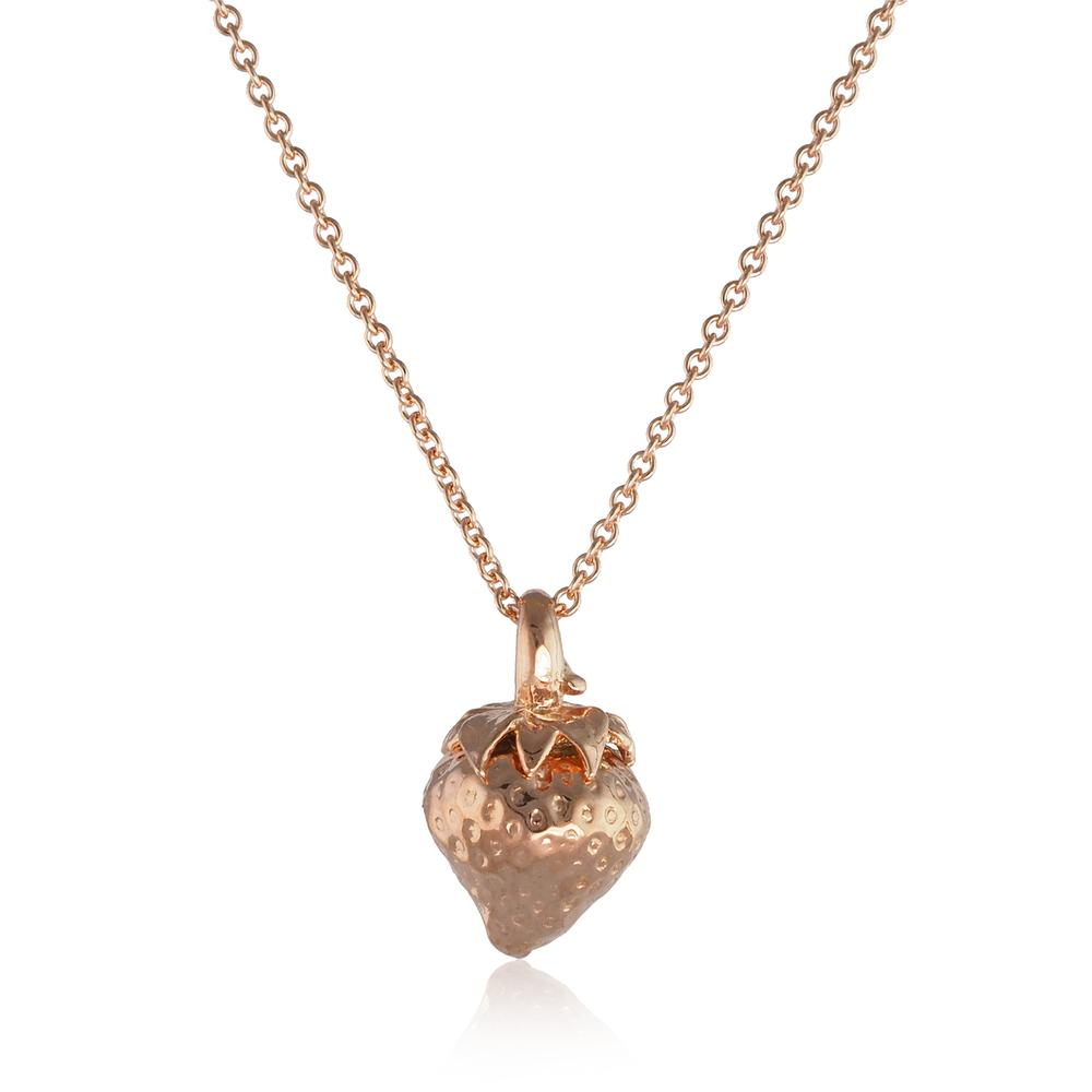 ROSE GOLD VERMEIL STRAWBERRY PENDANT  by Rachel Whitehead Jewellery