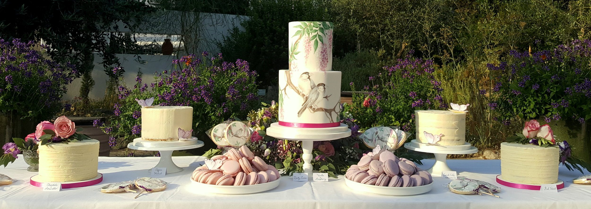 Cake table with hand painted Japanese bird print wedding cake
