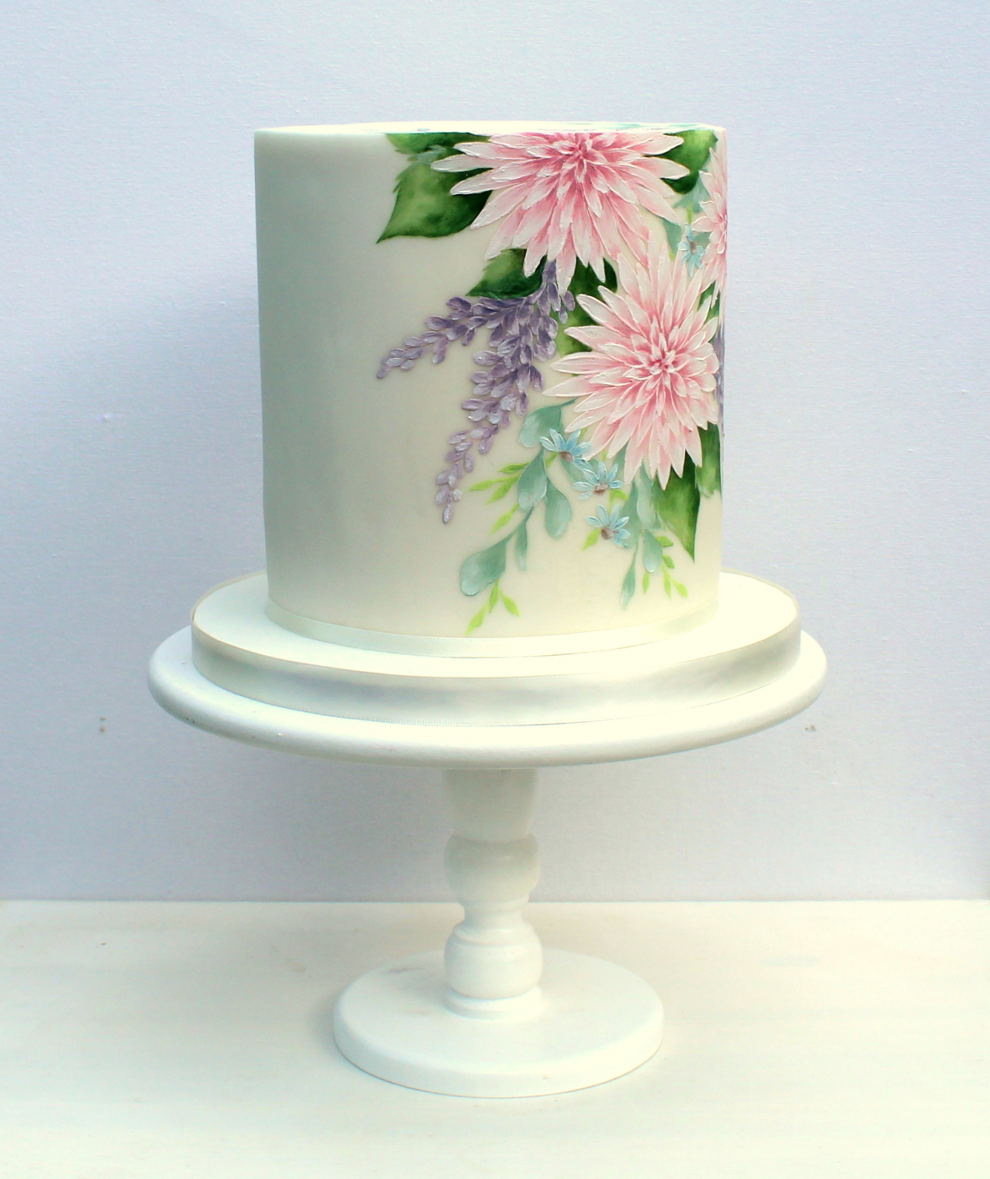 single tier hand painted wedding cake pink and lilac, emily hankins cakes