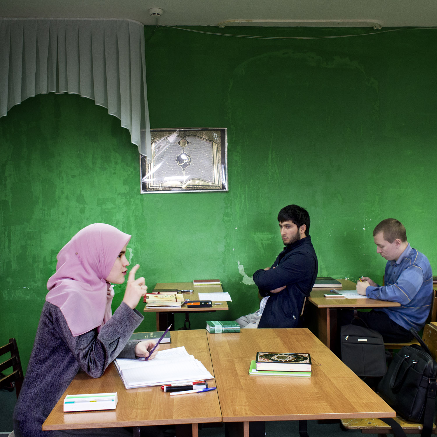 """Students at Kazan's first madrasa. Elvira, one of the students at the school says: """" Only people. who didn't understand their religion would say """" my god is better... or that you are not allowed to believe in anything else."""""""