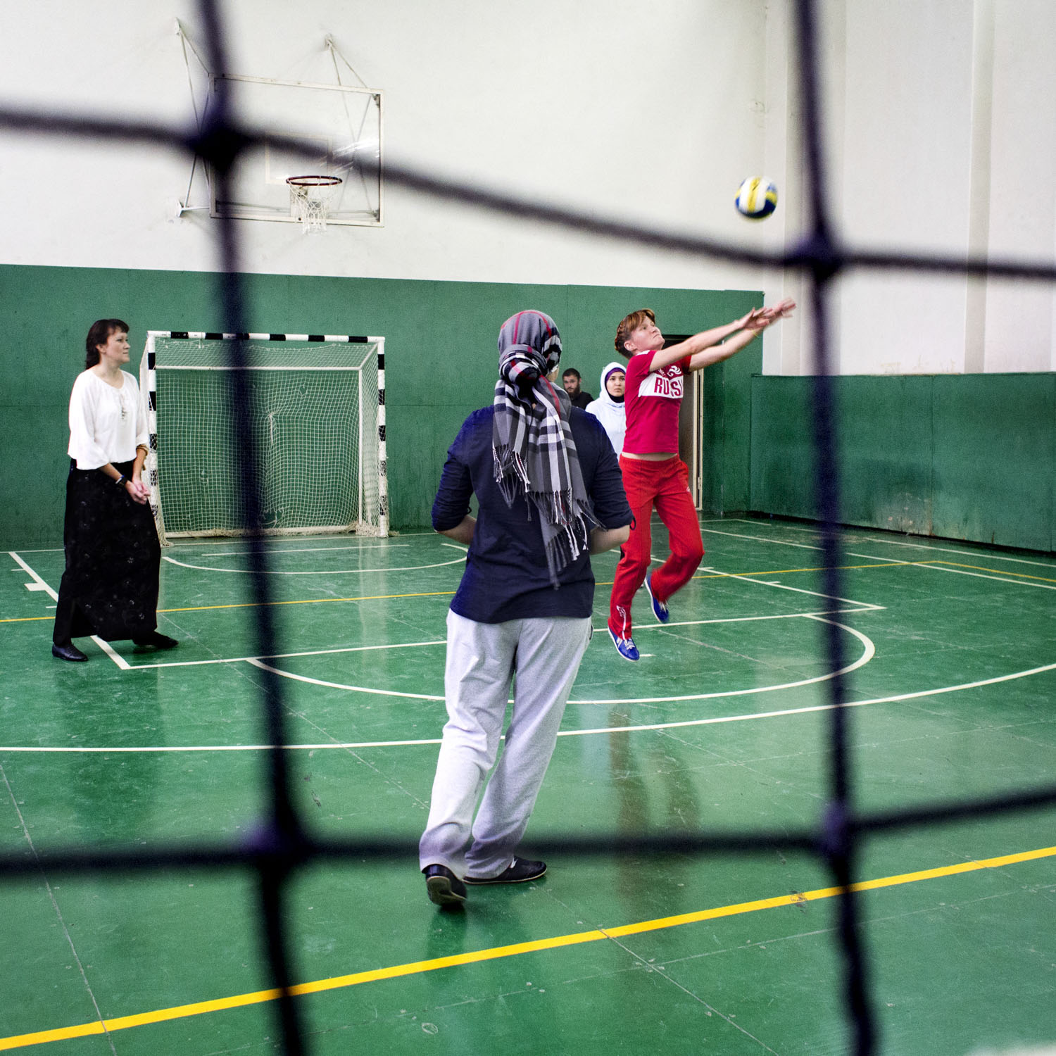 """Sports against terrorism. The games are organised by Aynur Artjom: """"We don't want to encourage competitive thinking between the religions, so we mix the teams."""""""