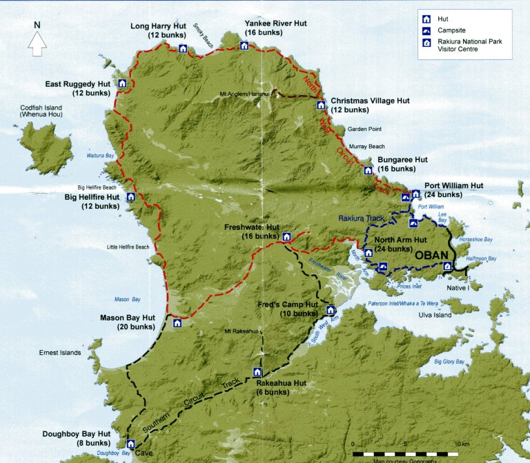 Trail map showing stewart island's multi-day hikes: Rakiura Track (3 days), North West Circuit (9-11 days), Southern Circuit (6 days). Source: Department of Conservation.