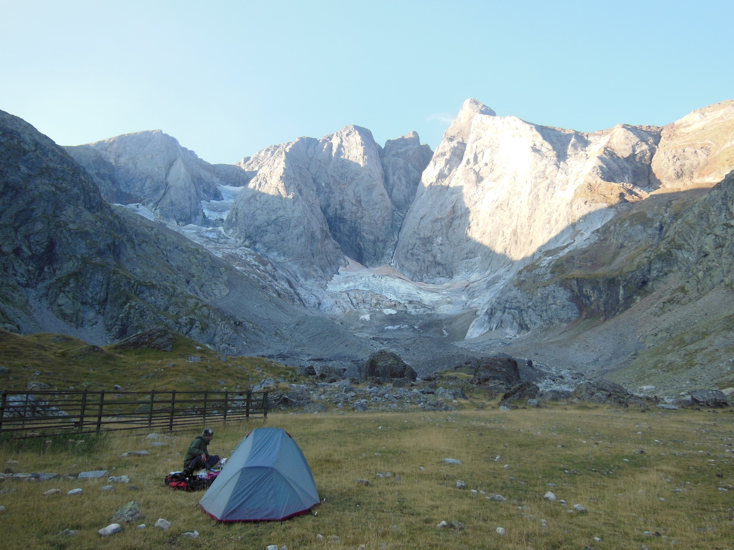 Wild camping under the dramatic north face of Vignemale.