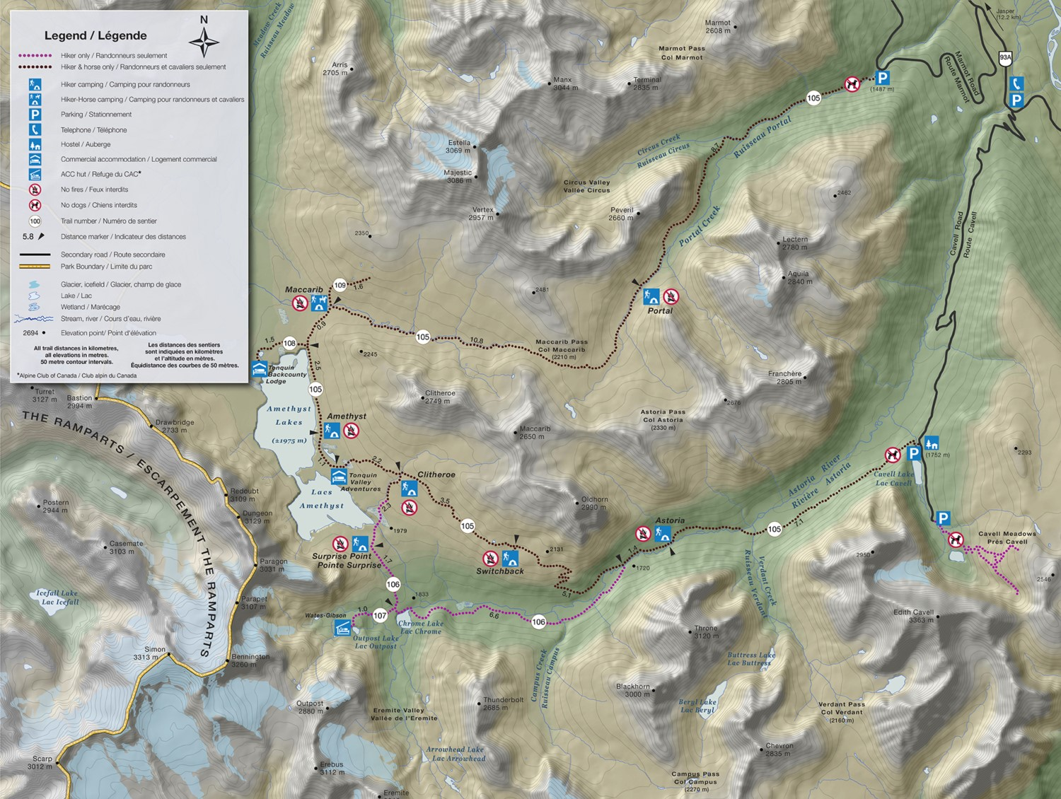 Map of the trails and campsites in the Tonquin Valley (Source: Parks Canada).
