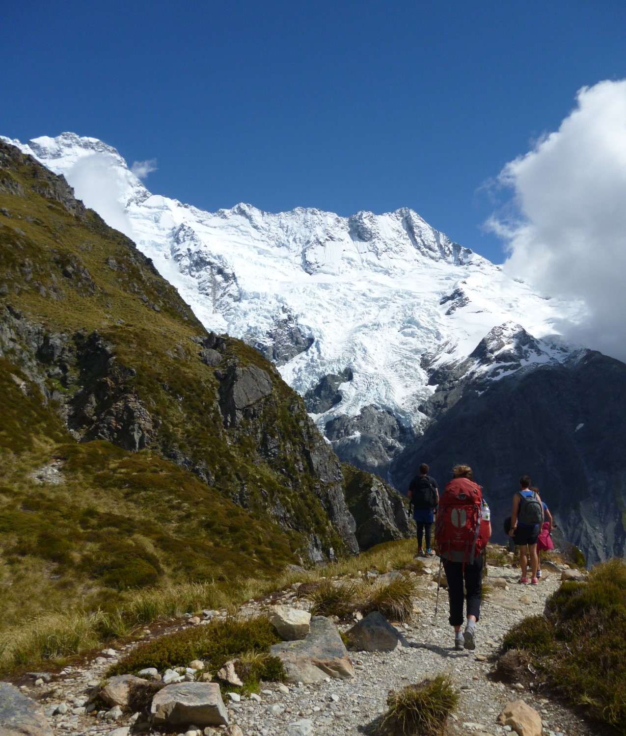 Tramping (?) our way to Mueller Hut in the Mt Cook / Aoraki National Park in New Zealand.
