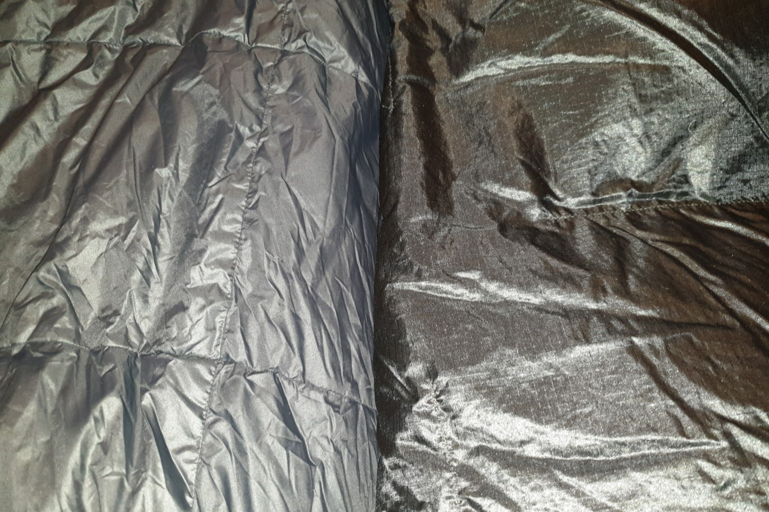 A 30 denier liner fabric found on a Feathered Friends winter sleeping bag (left) vs a 10 denier ultralight liner fabric found on an Enlightened Equipment backpacking quilt (right).