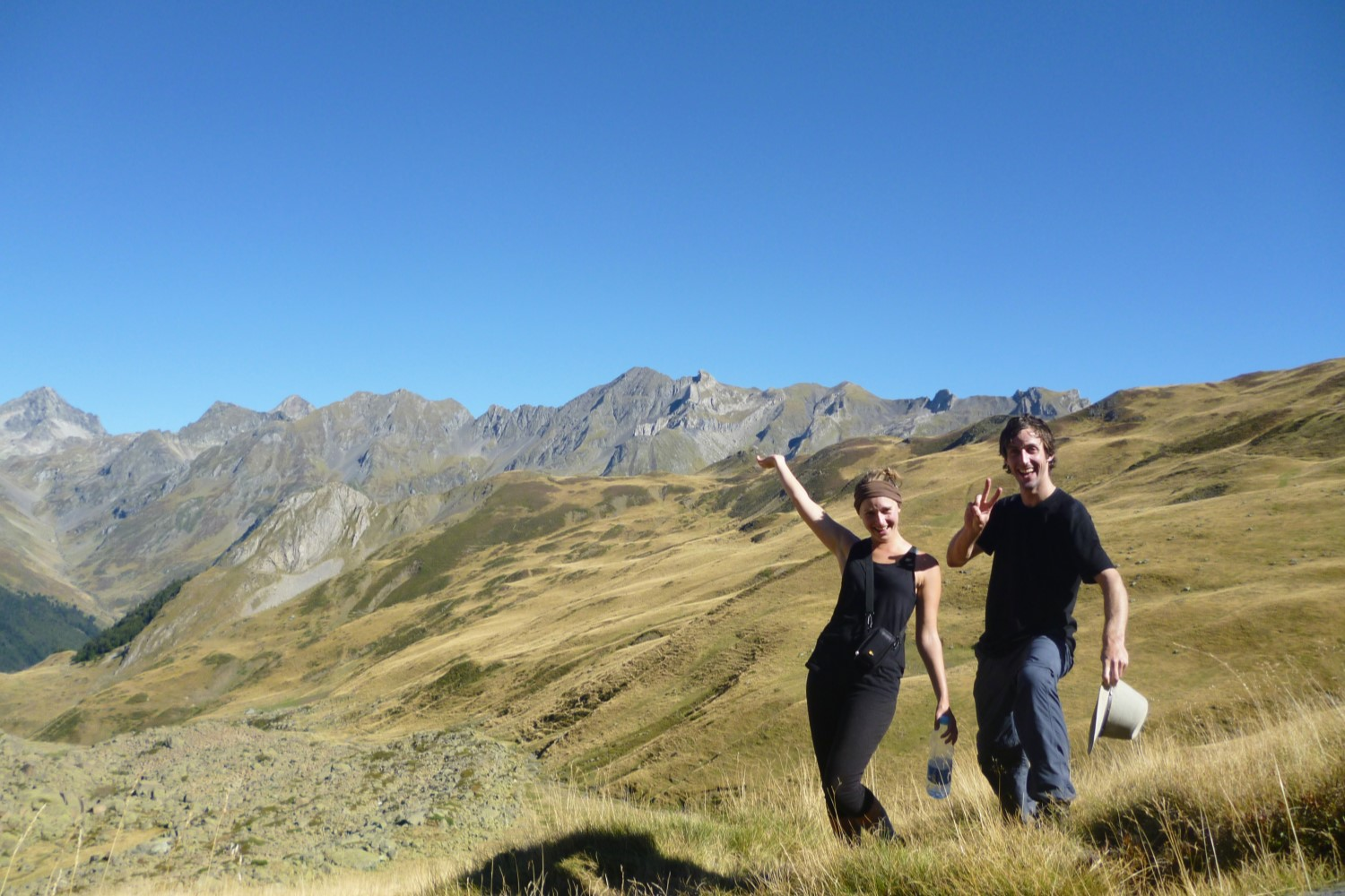 Rocking a merino t-shirt in warm weather on the Pyrenees.